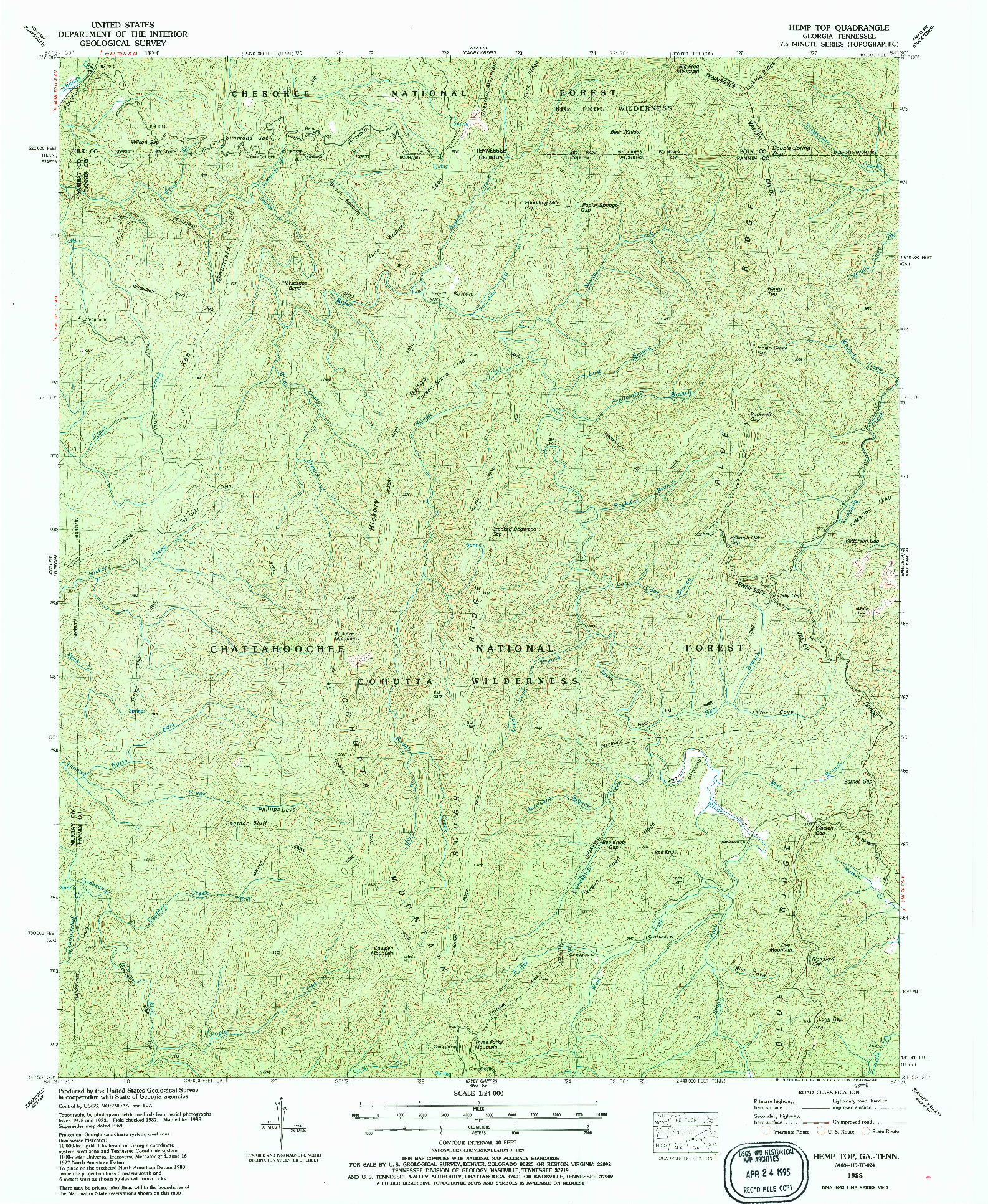 USGS 1:24000-SCALE QUADRANGLE FOR HEMP TOP, GA 1988