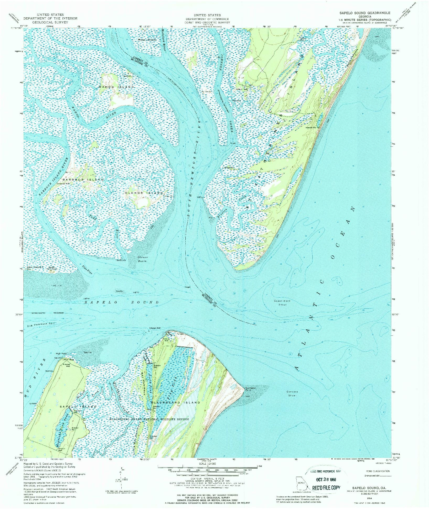 USGS 1:24000-SCALE QUADRANGLE FOR SAPELO SOUND, GA 1954