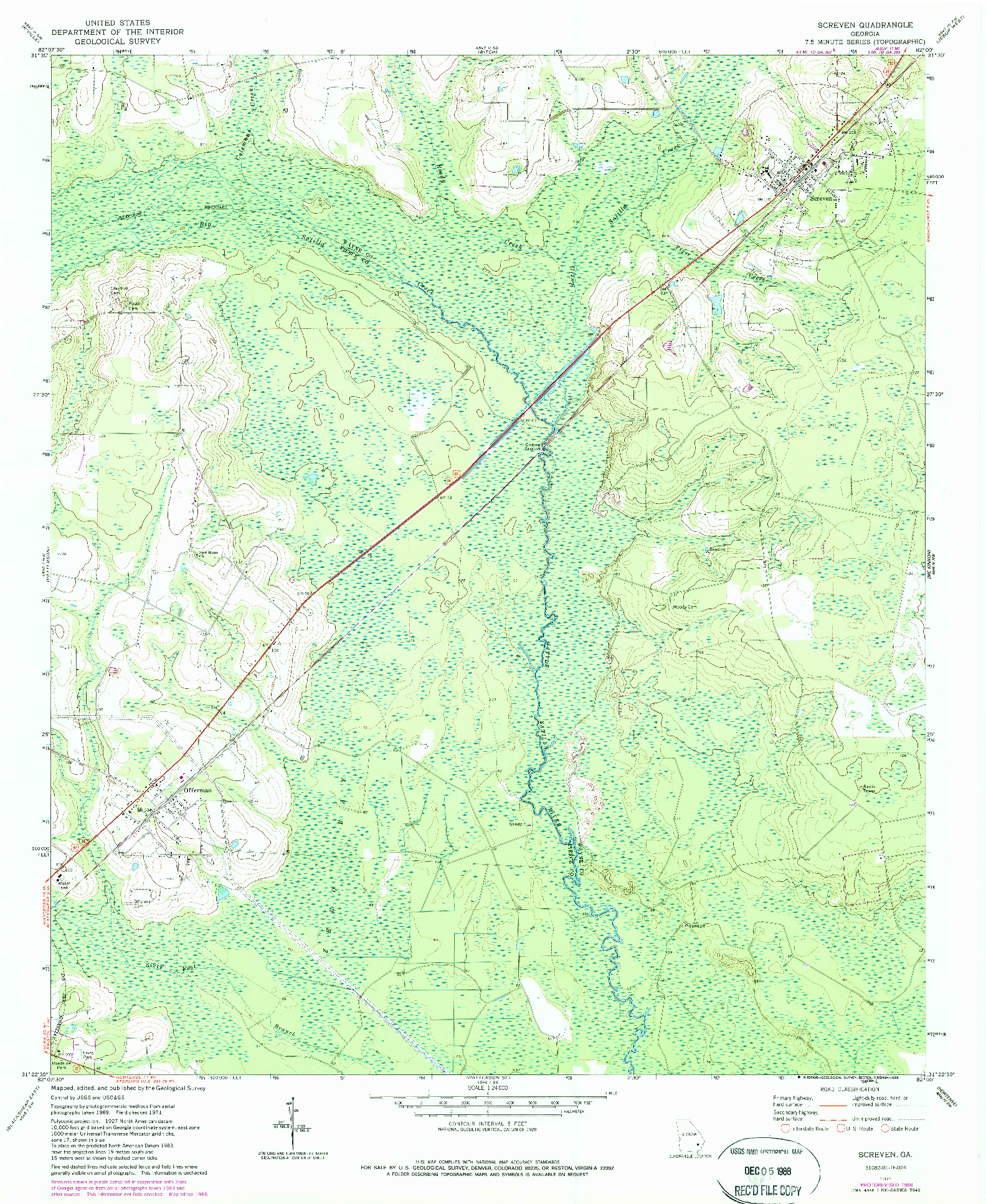 USGS 1:24000-SCALE QUADRANGLE FOR SCREVEN, GA 1971