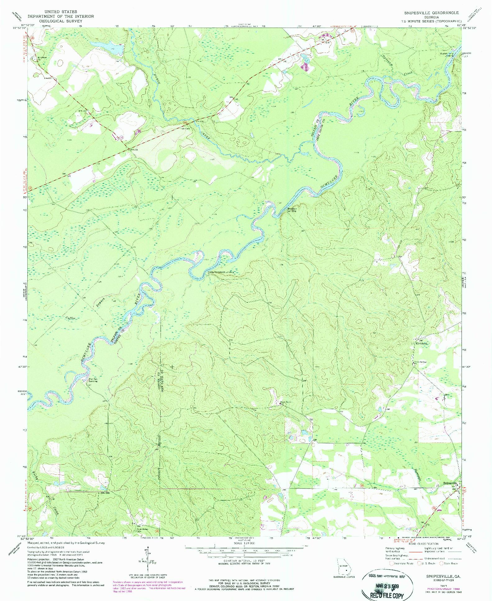 USGS 1:24000-SCALE QUADRANGLE FOR SNIPESVILLE, GA 1971