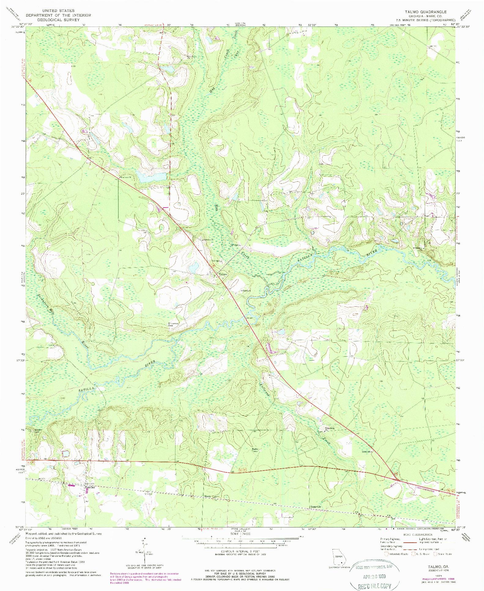 USGS 1:24000-SCALE QUADRANGLE FOR TALMO, GA 1971
