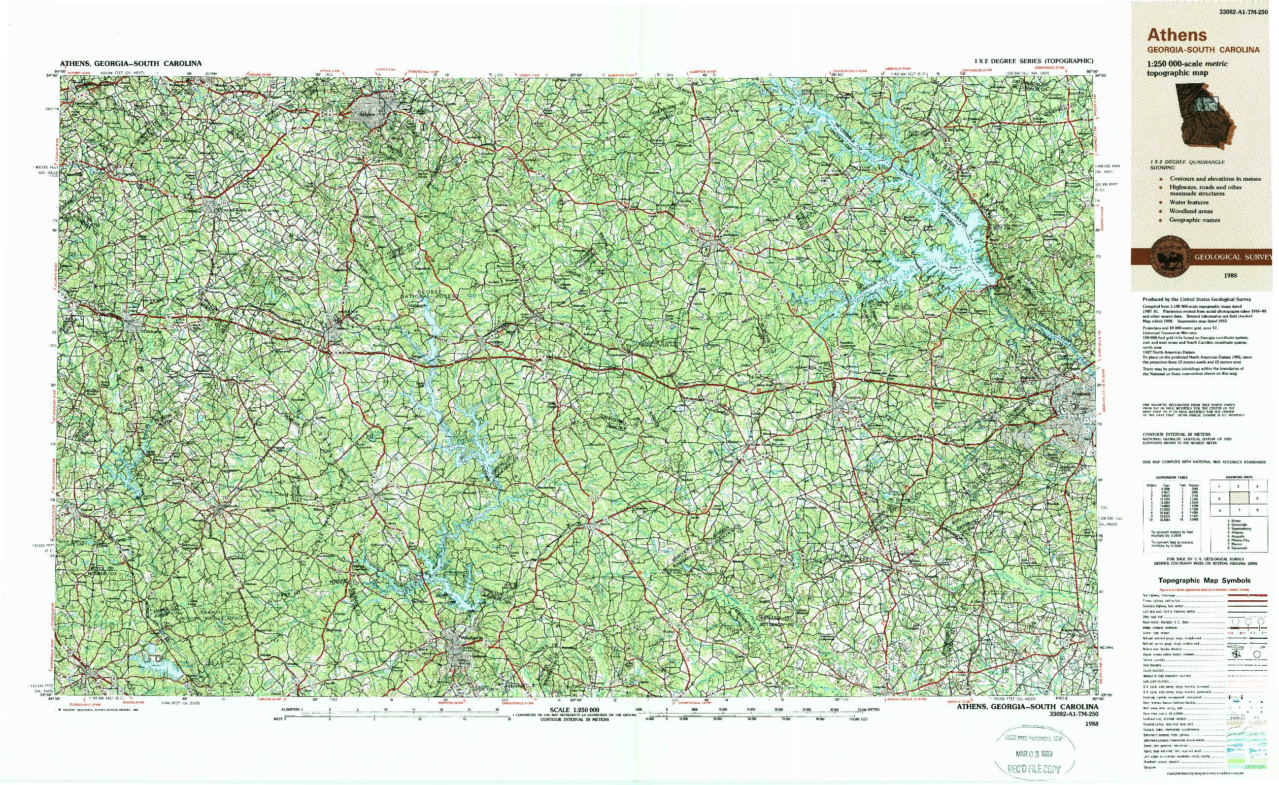 USGS 1:250000-SCALE QUADRANGLE FOR ATHENS, GA 1988