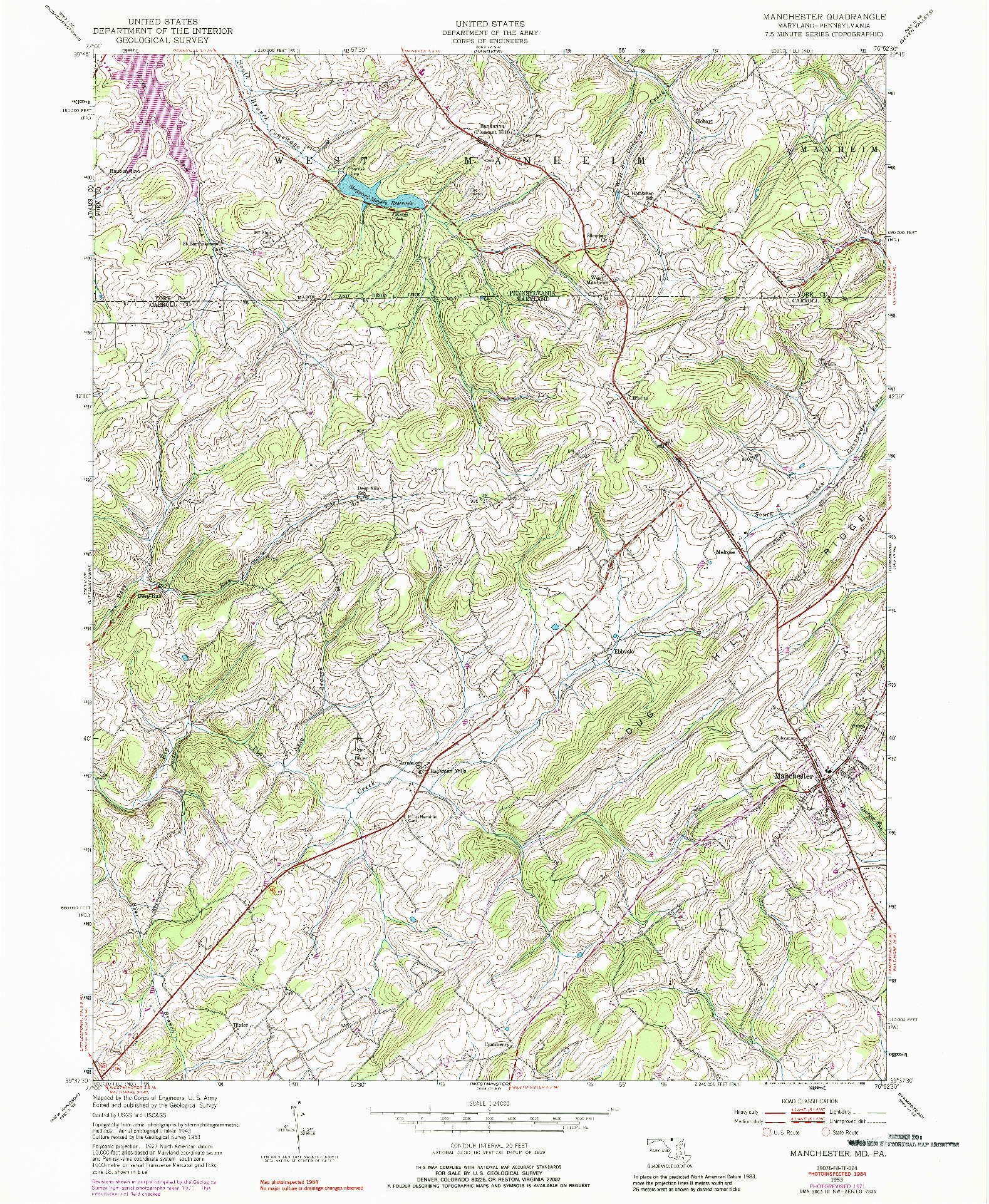 USGS 1:24000-SCALE QUADRANGLE FOR MANCHESTER, MD 1953