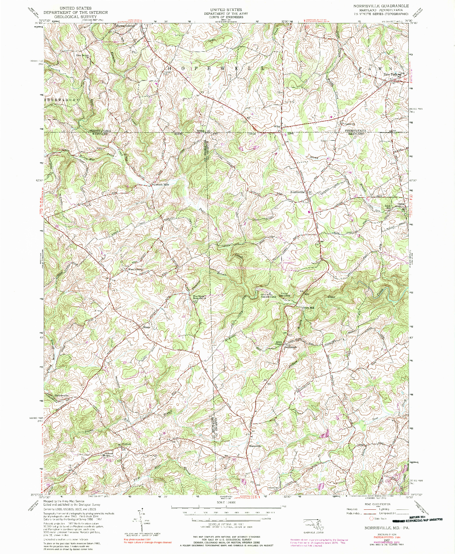 USGS 1:24000-SCALE QUADRANGLE FOR NORRISVILLE, MD 1957