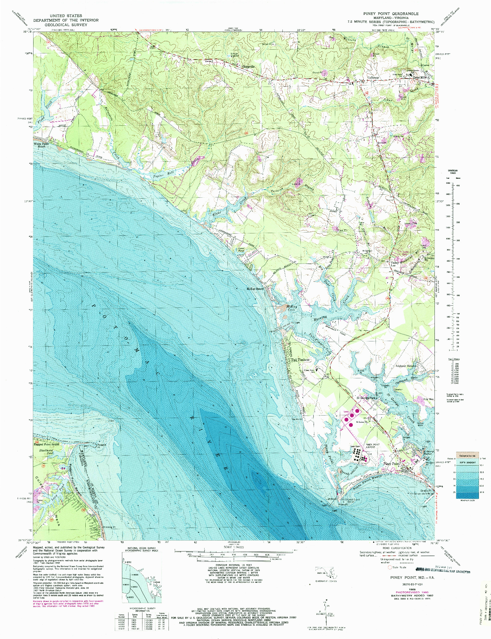 USGS 1:24000-SCALE QUADRANGLE FOR PINEY POINT, MD 1968