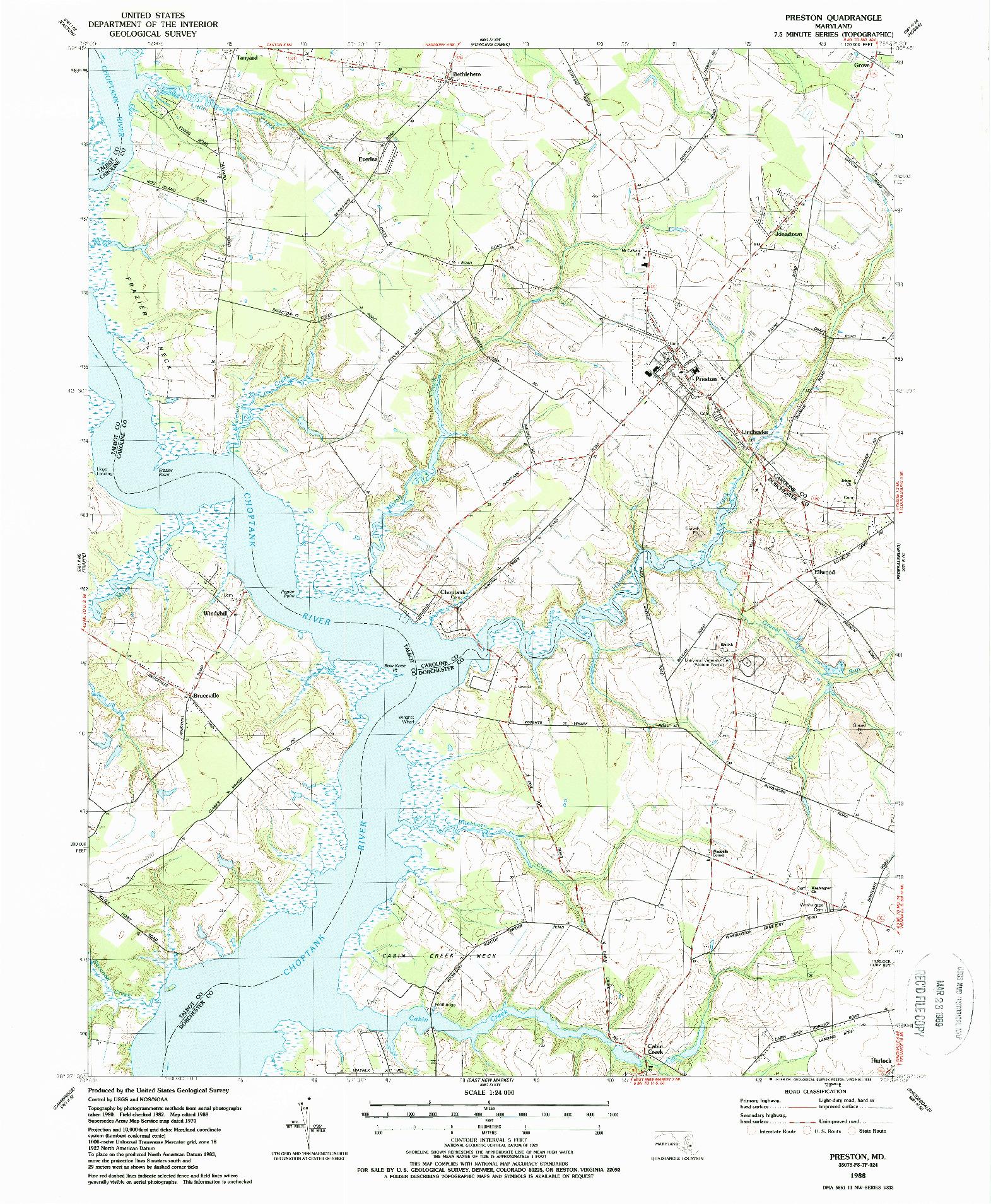 USGS 1:24000-SCALE QUADRANGLE FOR PRESTON, MD 1988