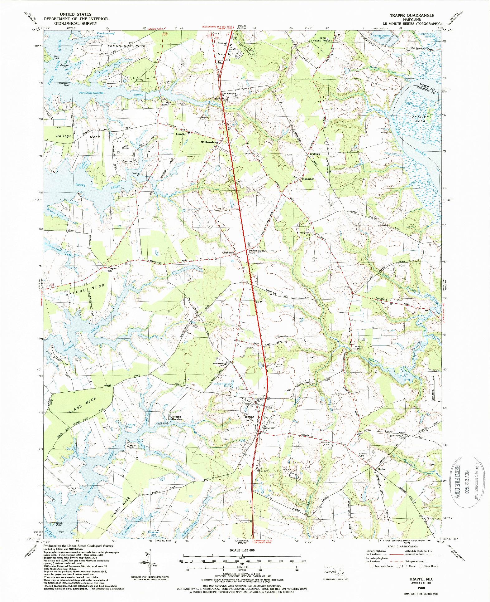 USGS 1:24000-SCALE QUADRANGLE FOR TRAPPE, MD 1988