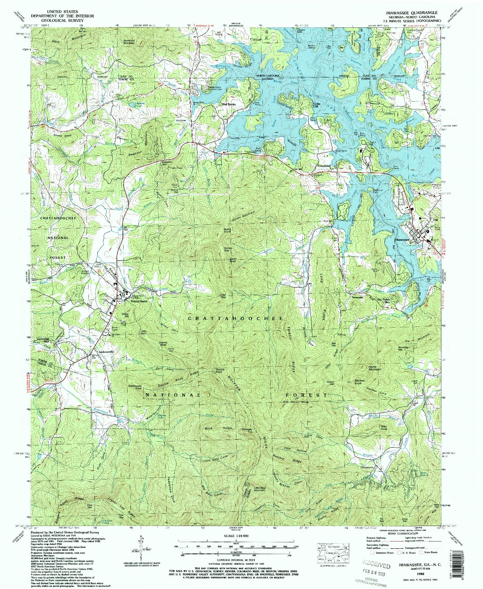 USGS 1:24000-SCALE QUADRANGLE FOR HIAWASSEE, NC 1988