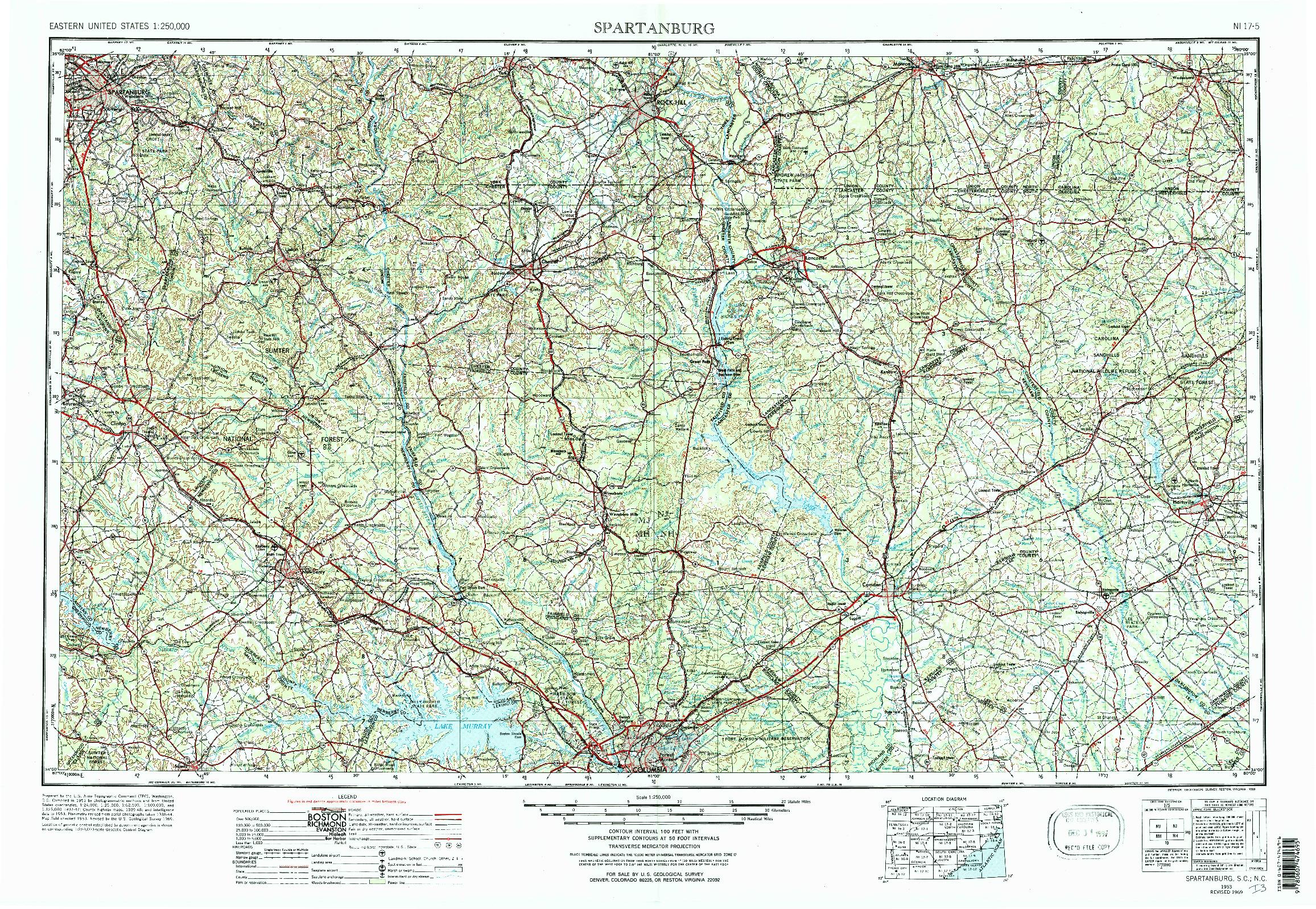 USGS 1:250000-SCALE QUADRANGLE FOR SPARTANBURG, SC 1953