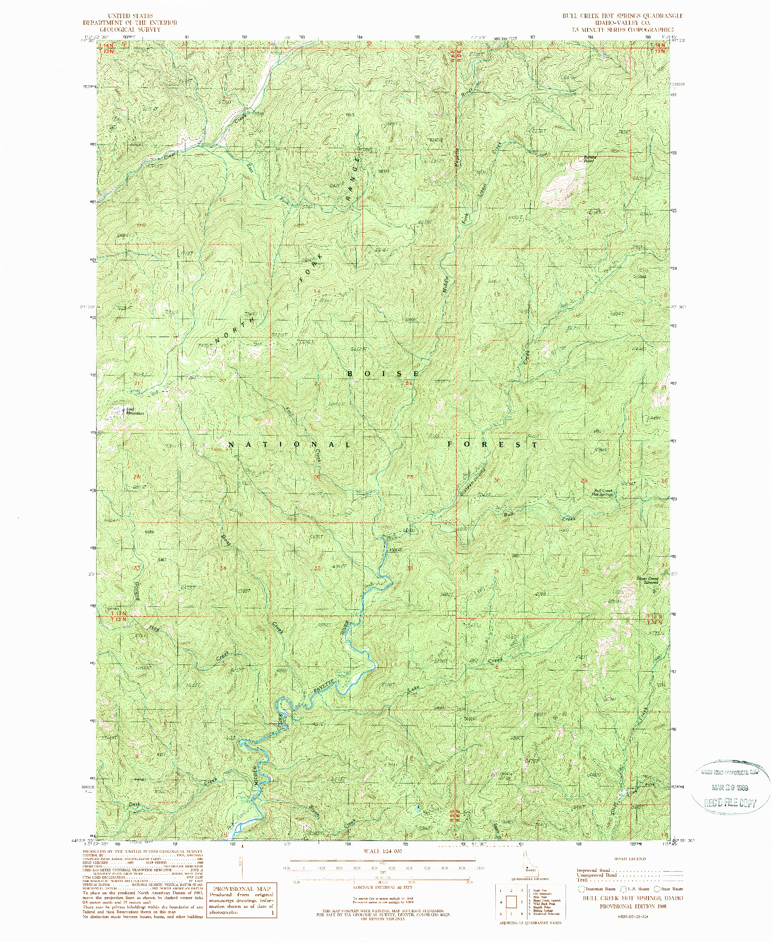 USGS 1:24000-SCALE QUADRANGLE FOR BULL CREEK HOT SPRINGS, ID 1988