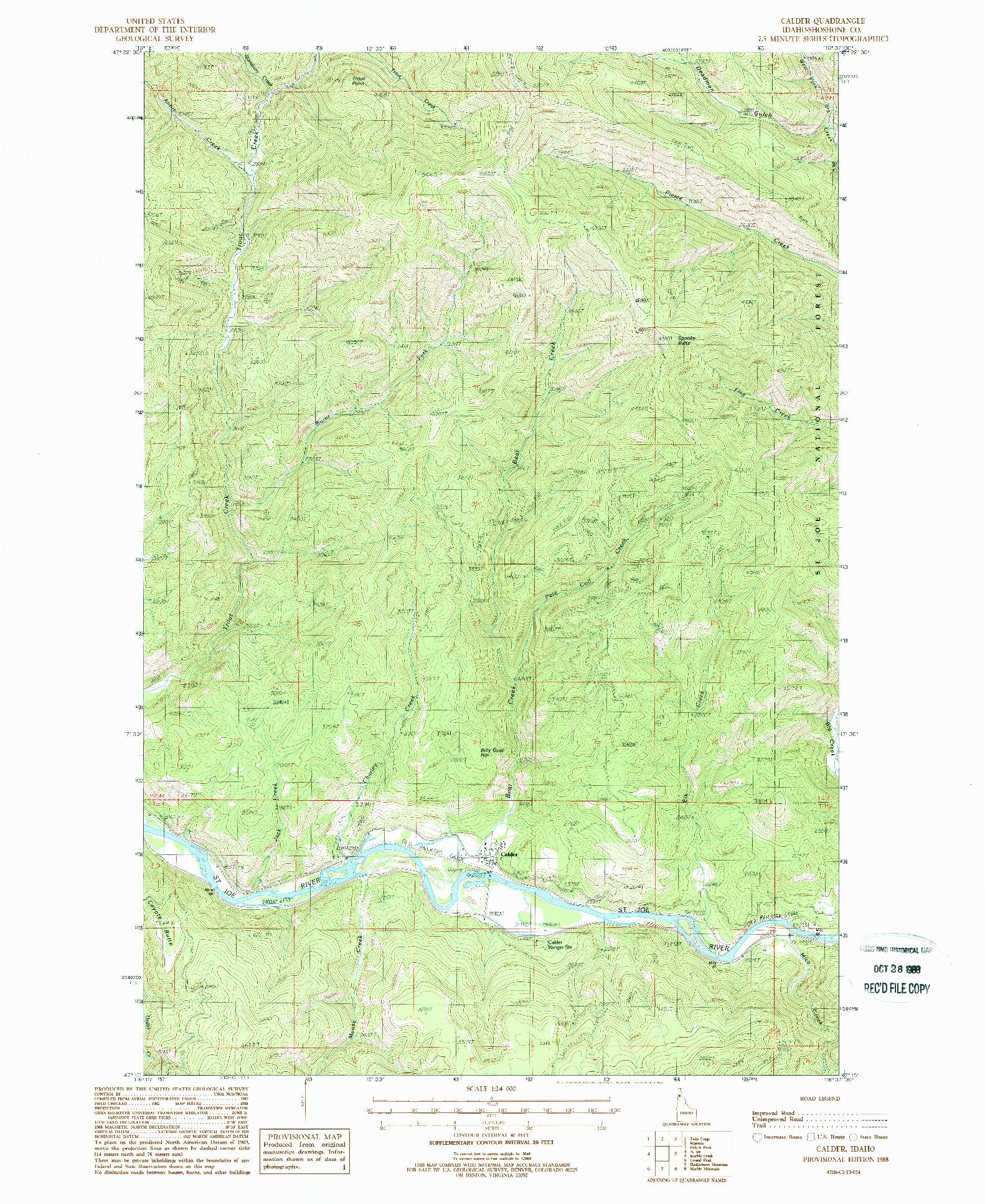 USGS 1:24000-SCALE QUADRANGLE FOR CALDER, ID 1988