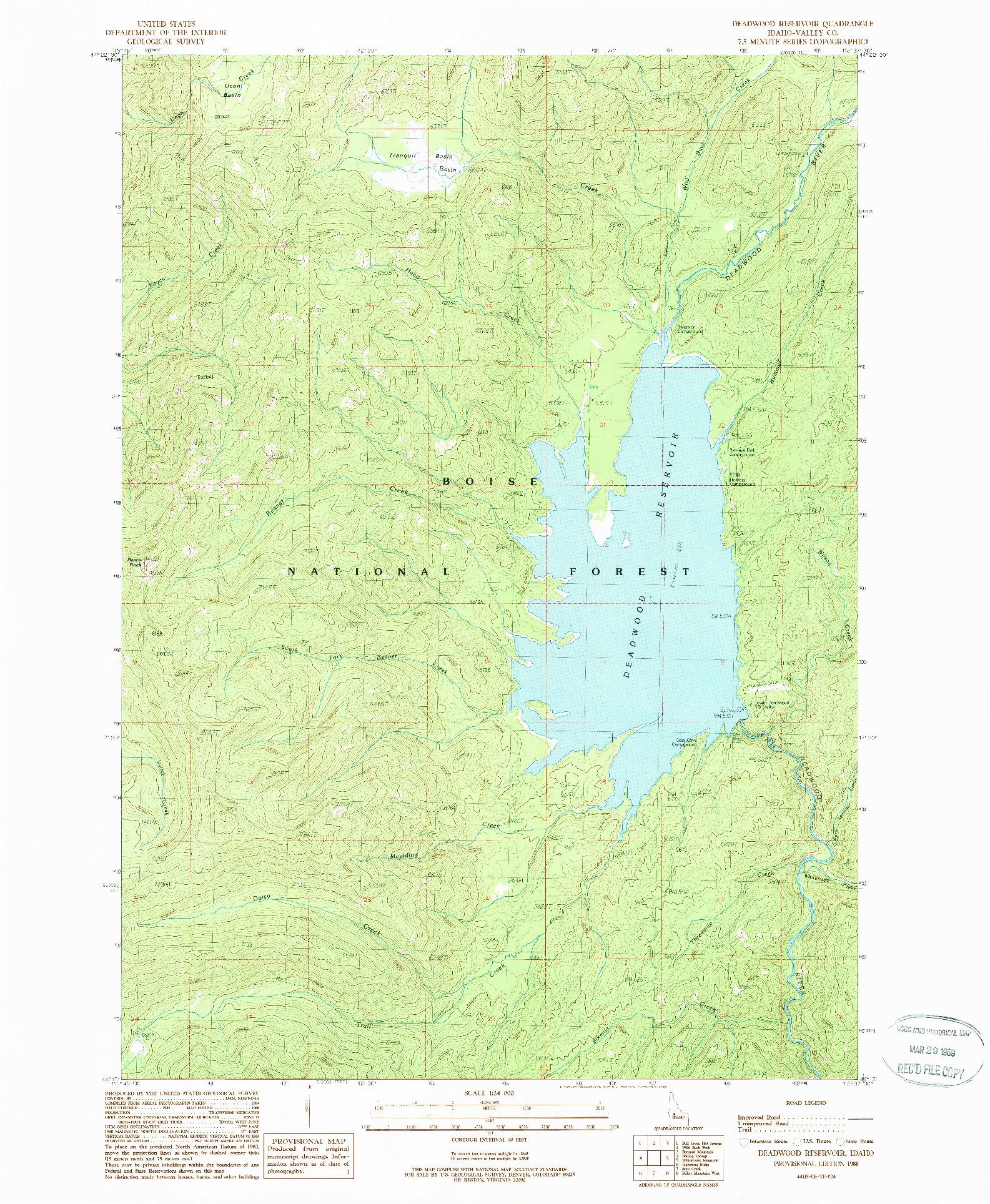 USGS 1:24000-SCALE QUADRANGLE FOR DEADWOOD RESERVOIR, ID 1988