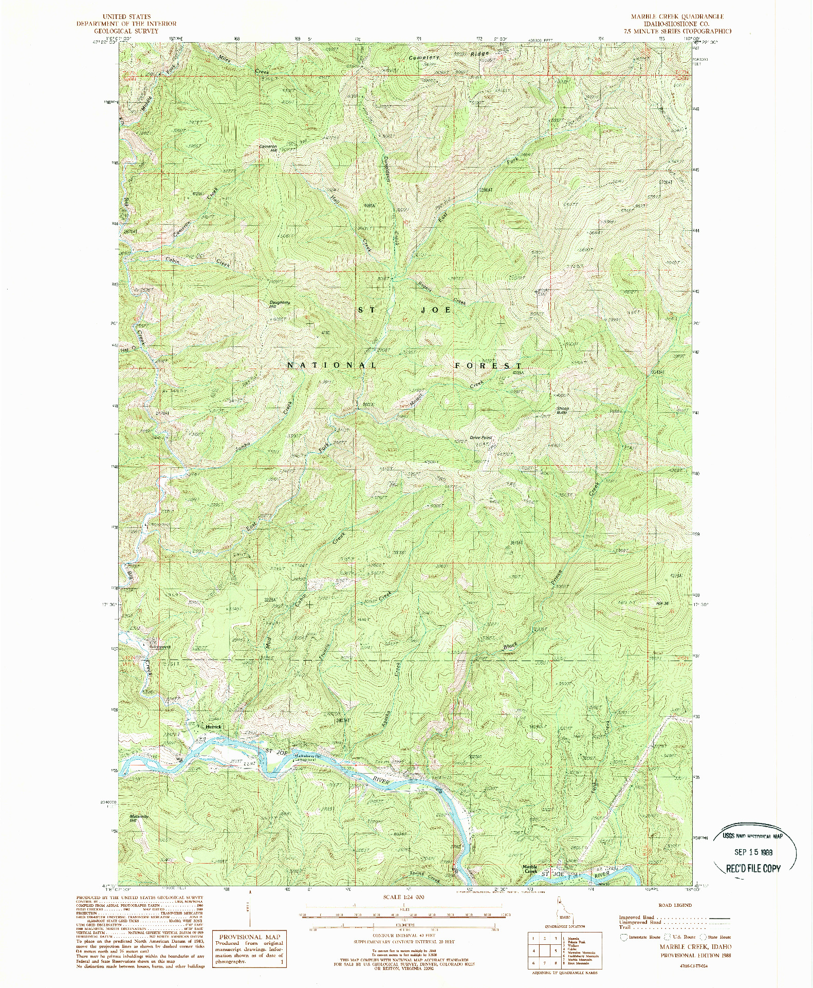 USGS 1:24000-SCALE QUADRANGLE FOR MARBLE CREEK, ID 1988