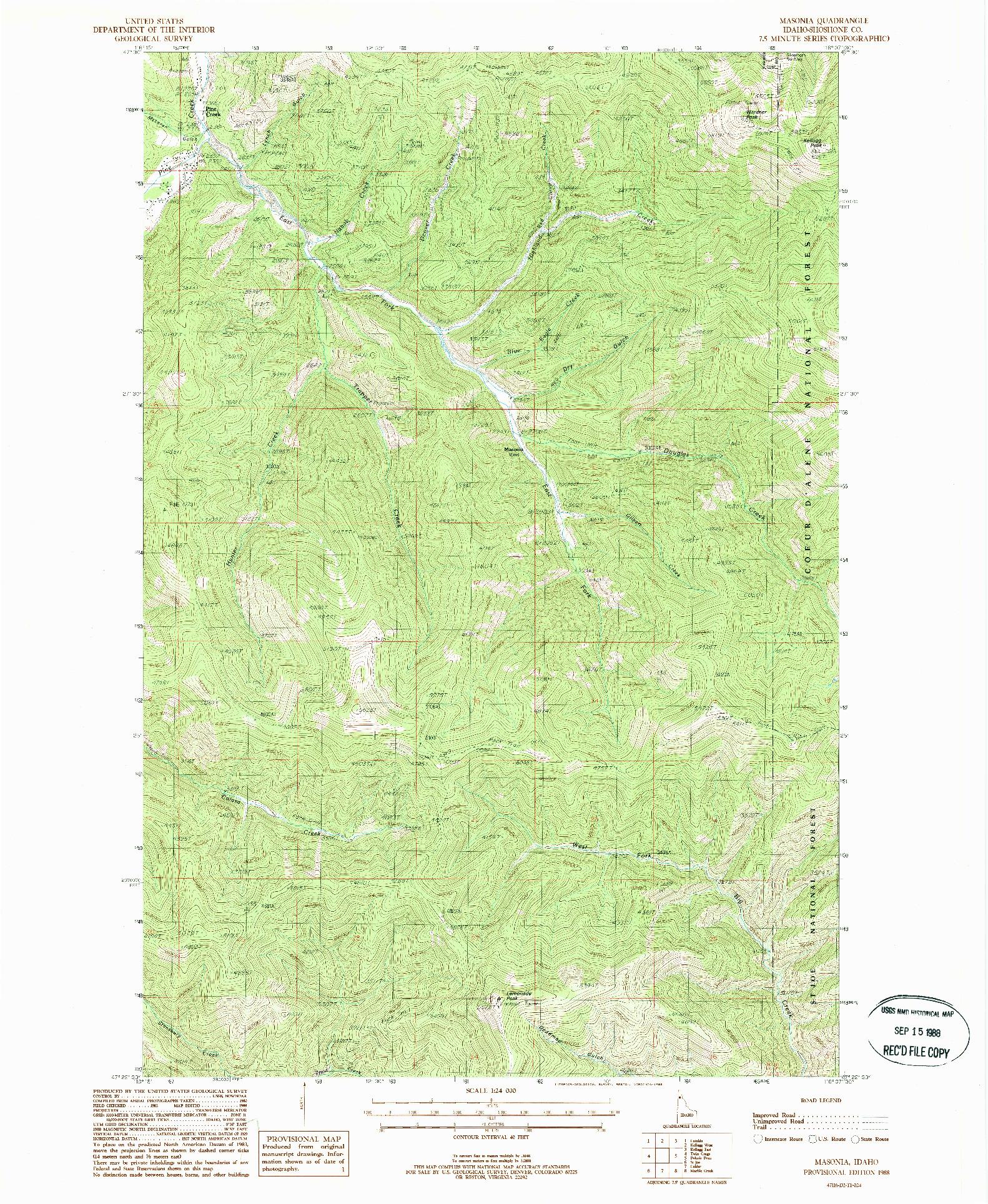 USGS 1:24000-SCALE QUADRANGLE FOR MASONIA, ID 1988