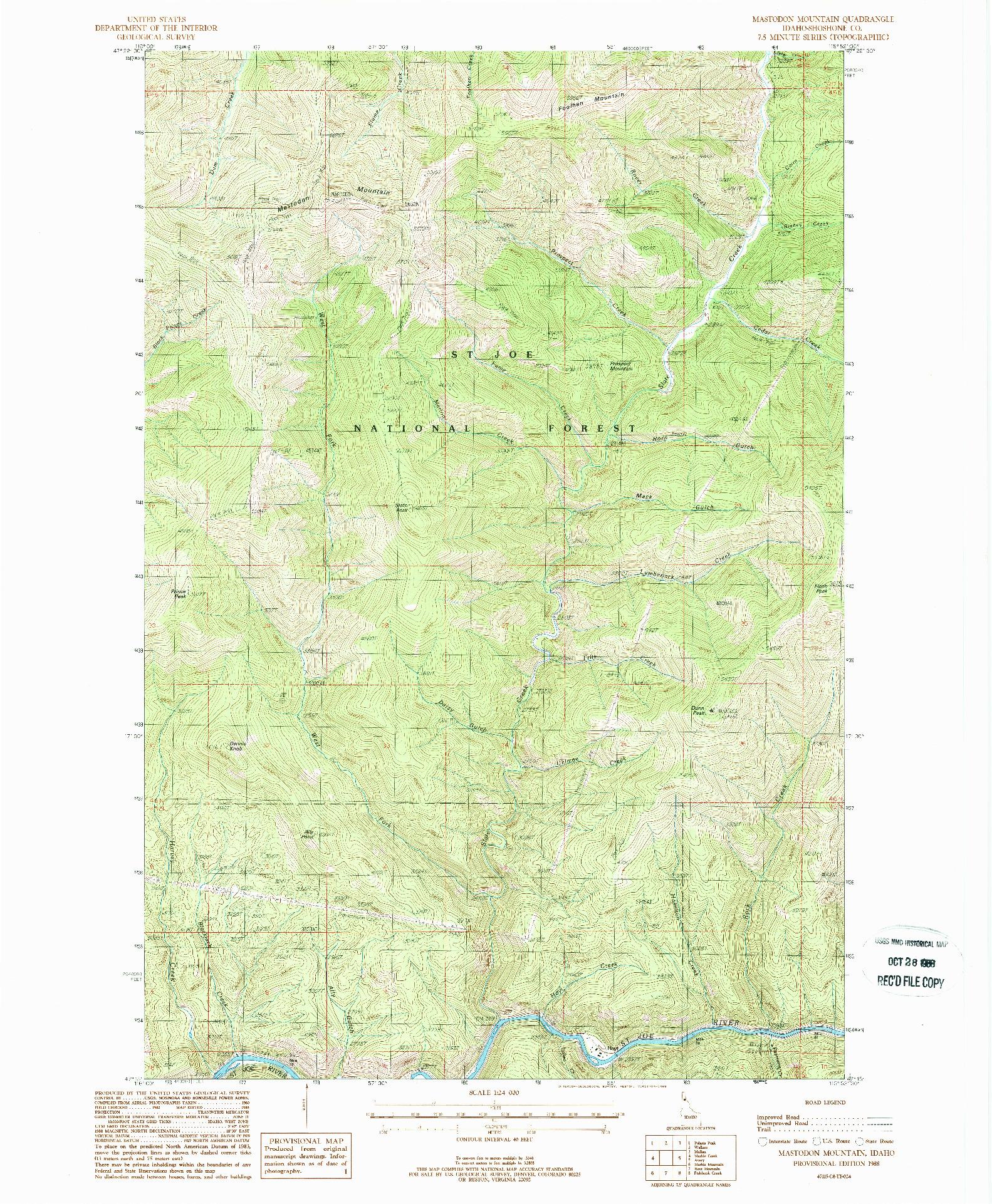 USGS 1:24000-SCALE QUADRANGLE FOR MASTODON MOUNTAIN, ID 1988