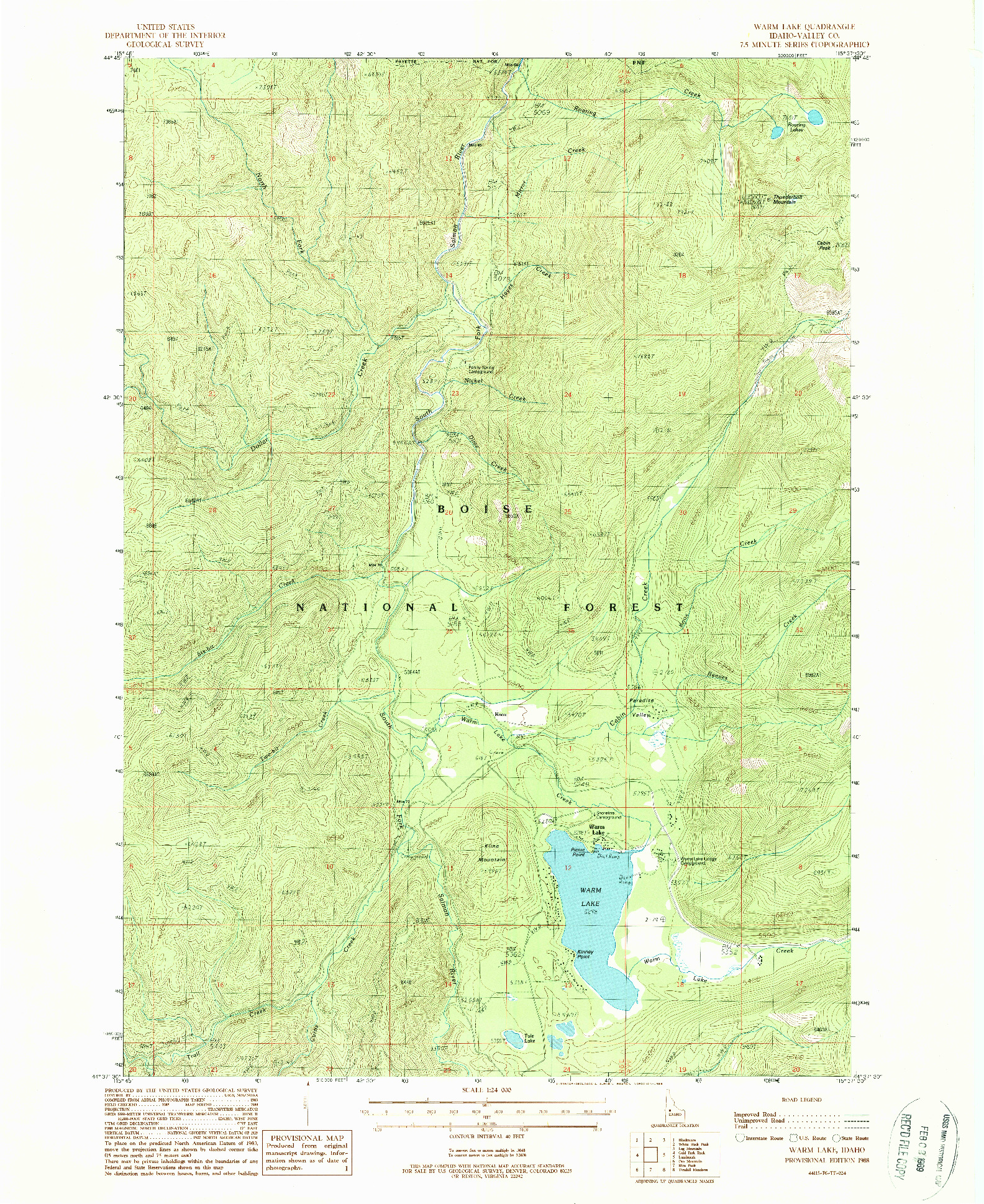 USGS 1:24000-SCALE QUADRANGLE FOR WARM LAKE, ID 1988