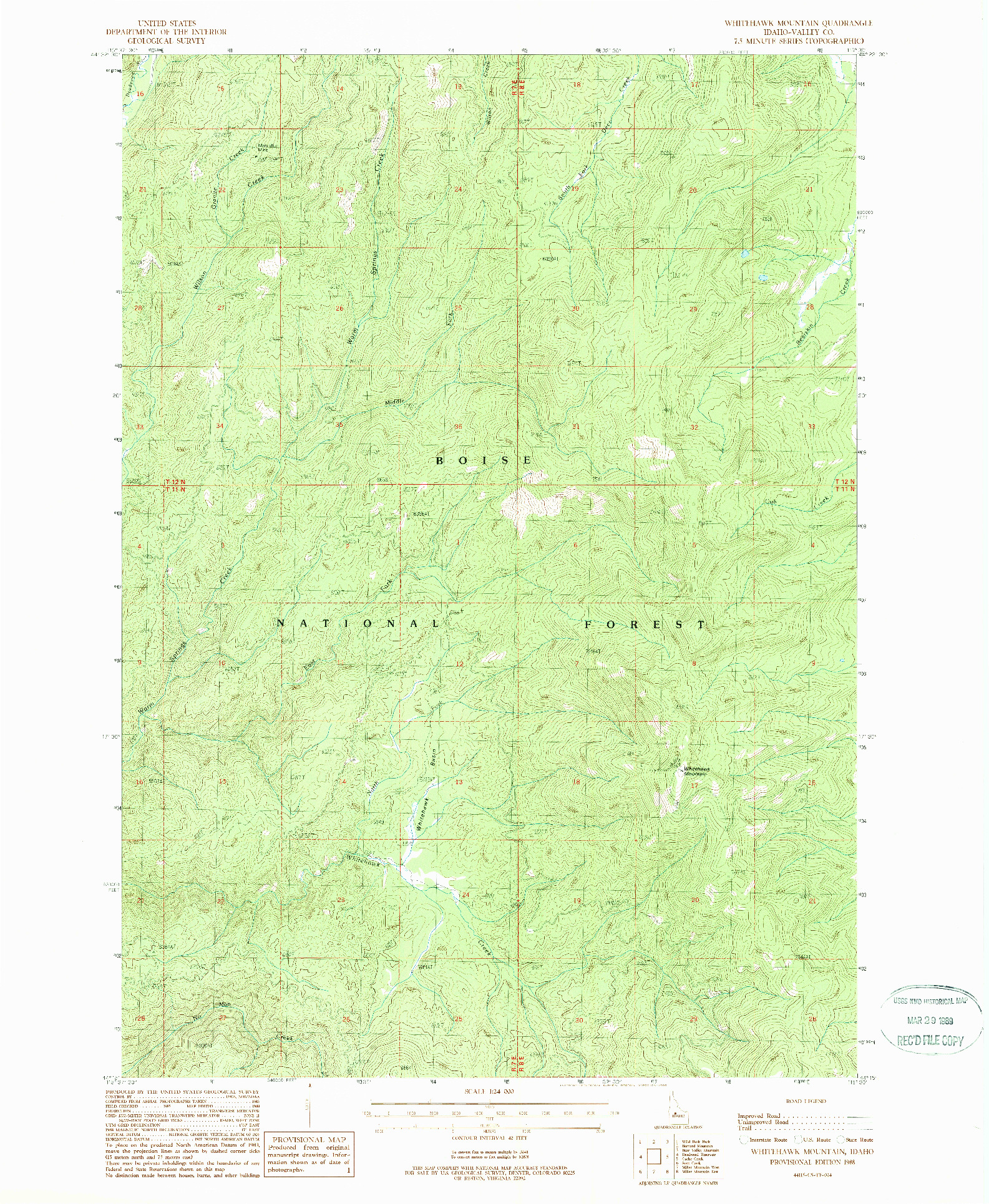 USGS 1:24000-SCALE QUADRANGLE FOR WHITEHAWK MOUNTAIN, ID 1988