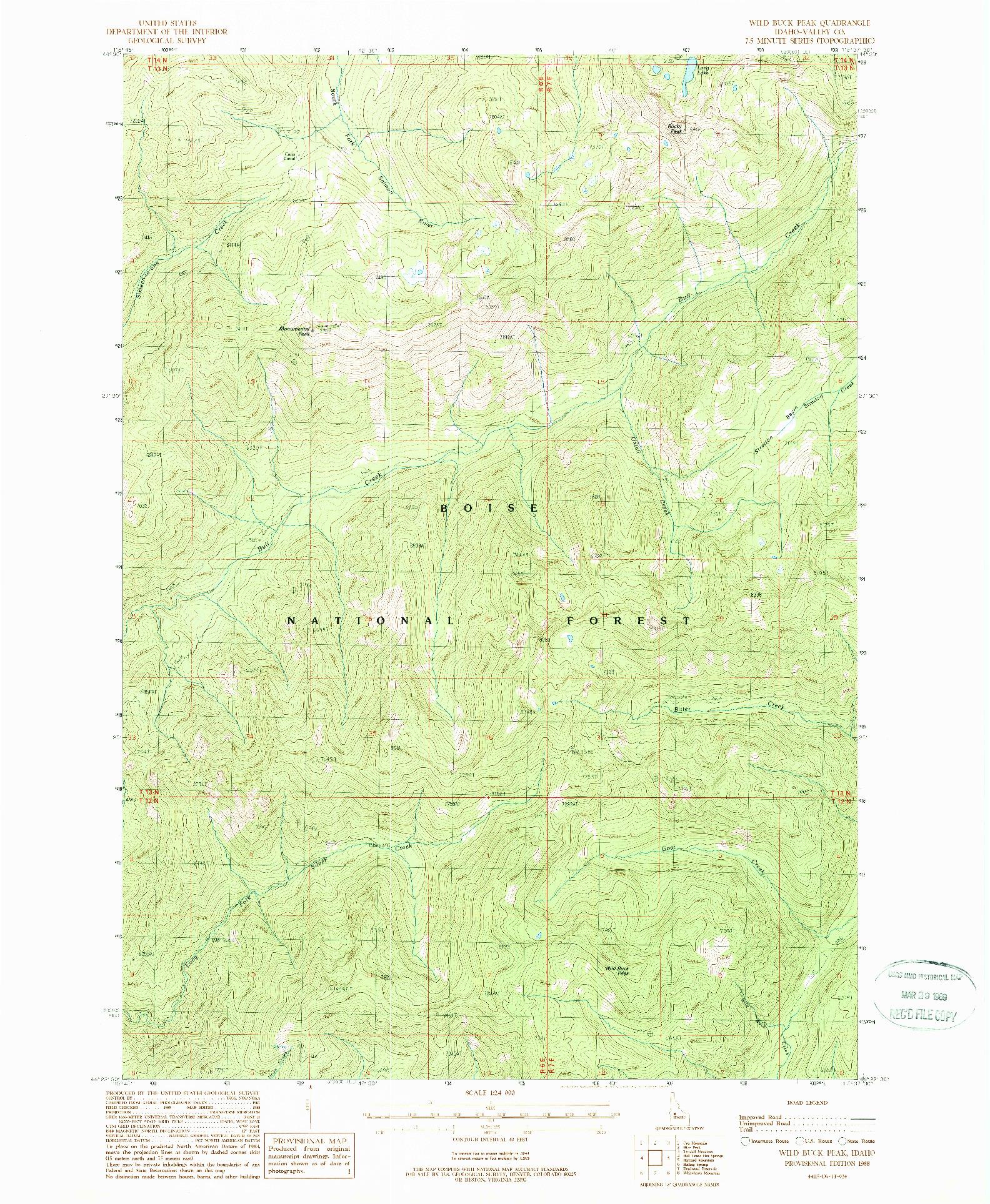 USGS 1:24000-SCALE QUADRANGLE FOR WILD BUCK PEAK, ID 1988