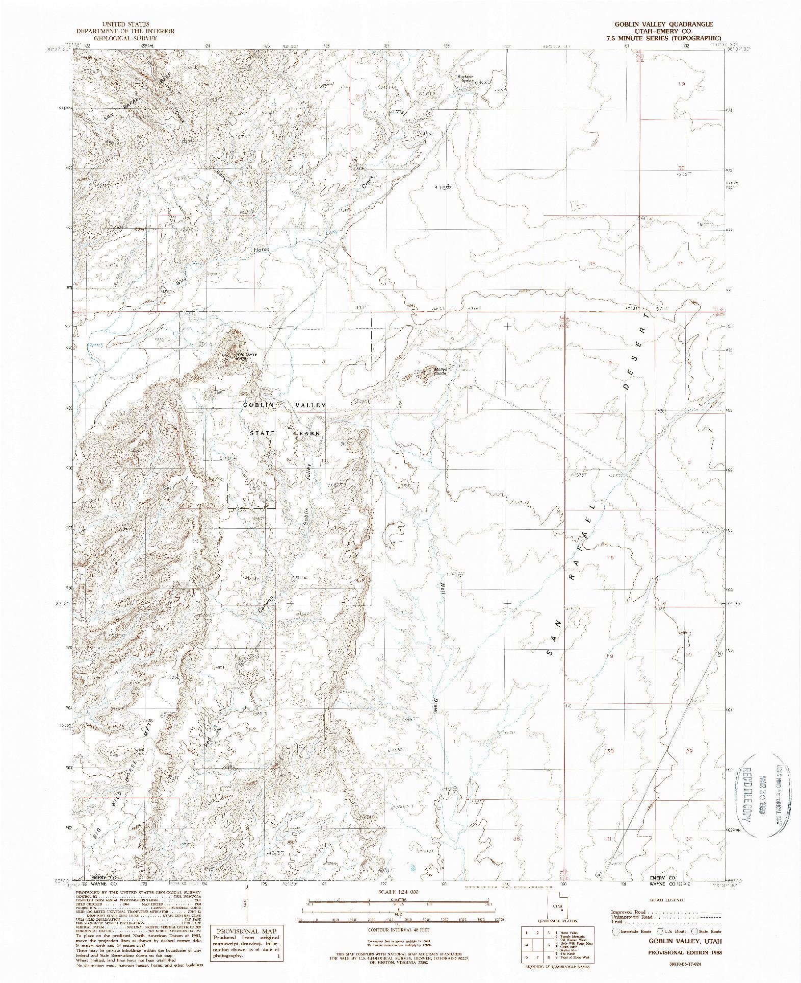 USGS 1:24000-SCALE QUADRANGLE FOR GOBLIN VALLEY, UT 1988