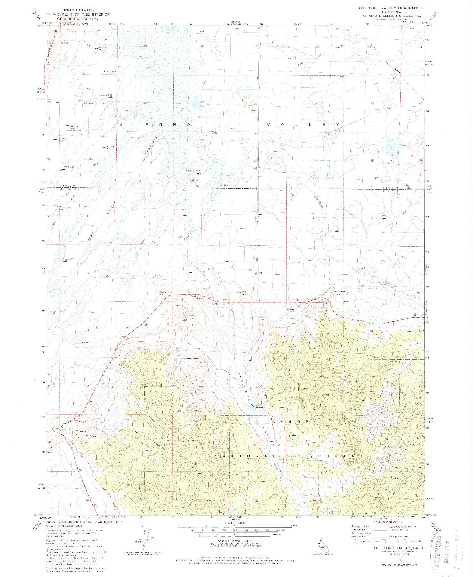 USGS 1:24000-SCALE QUADRANGLE FOR ANTELOPE VALLEY, CA 1981