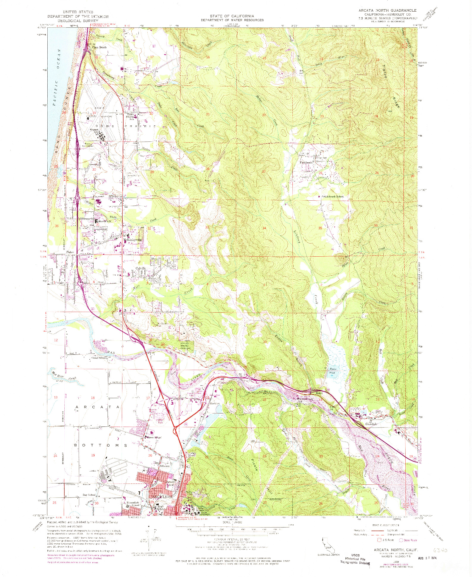 USGS 1:24000-SCALE QUADRANGLE FOR ARCATA NORTH, CA 1959