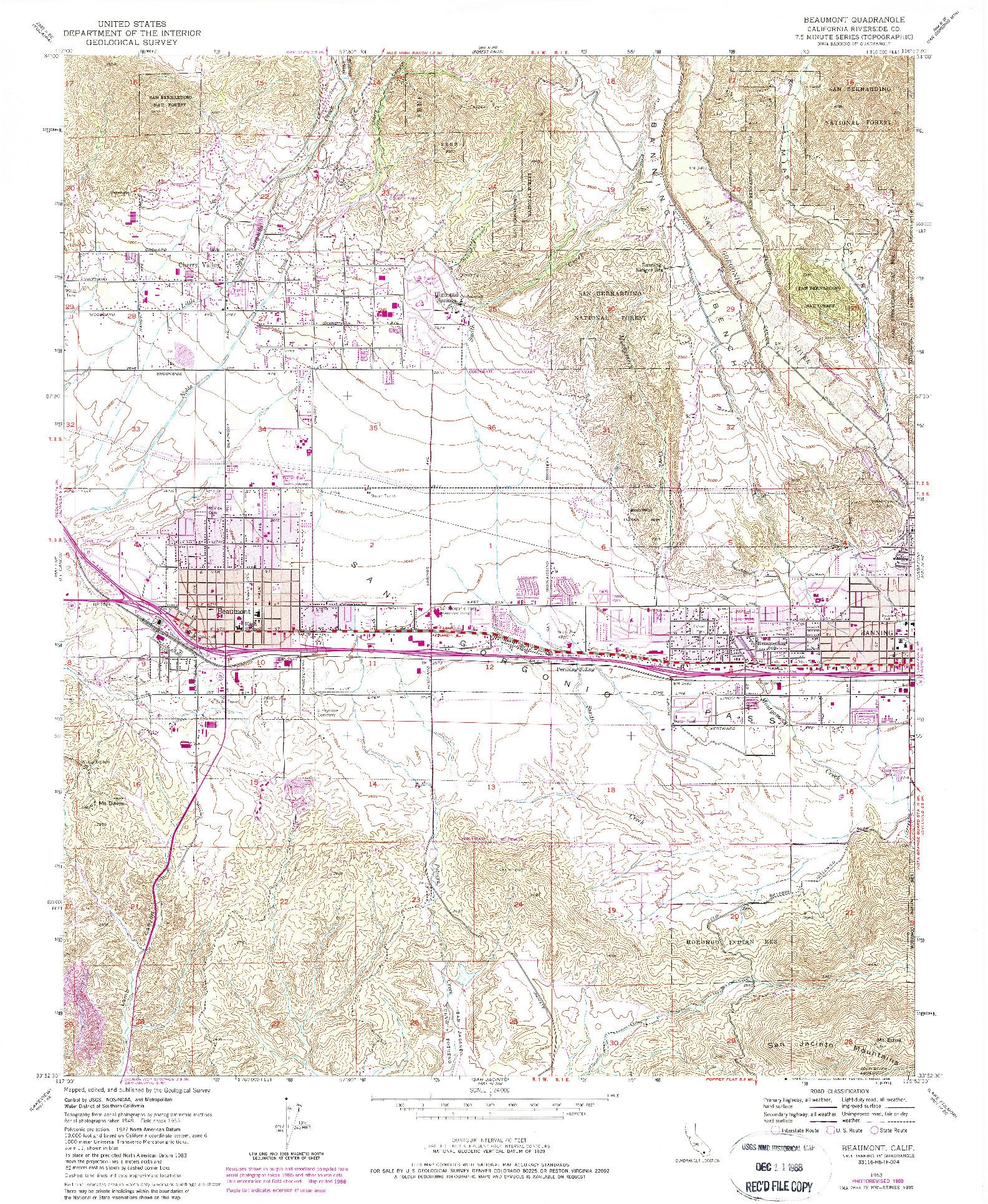 USGS 1:24000-SCALE QUADRANGLE FOR BEAUMONT, CA 1953