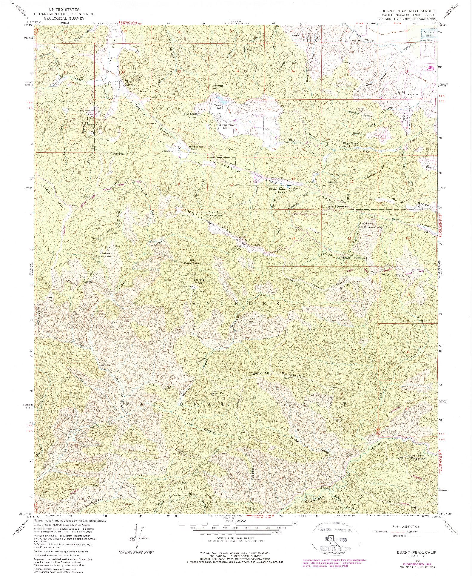 USGS 1:24000-SCALE QUADRANGLE FOR BURNT PEAK, CA 1958
