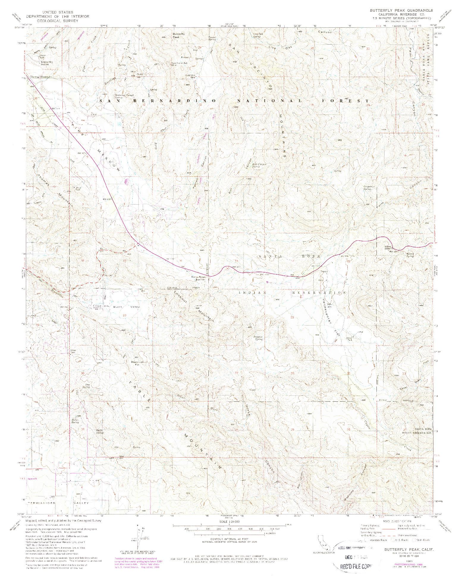 USGS 1:24000-SCALE QUADRANGLE FOR BUTTERFLY PEAK, CA 1981