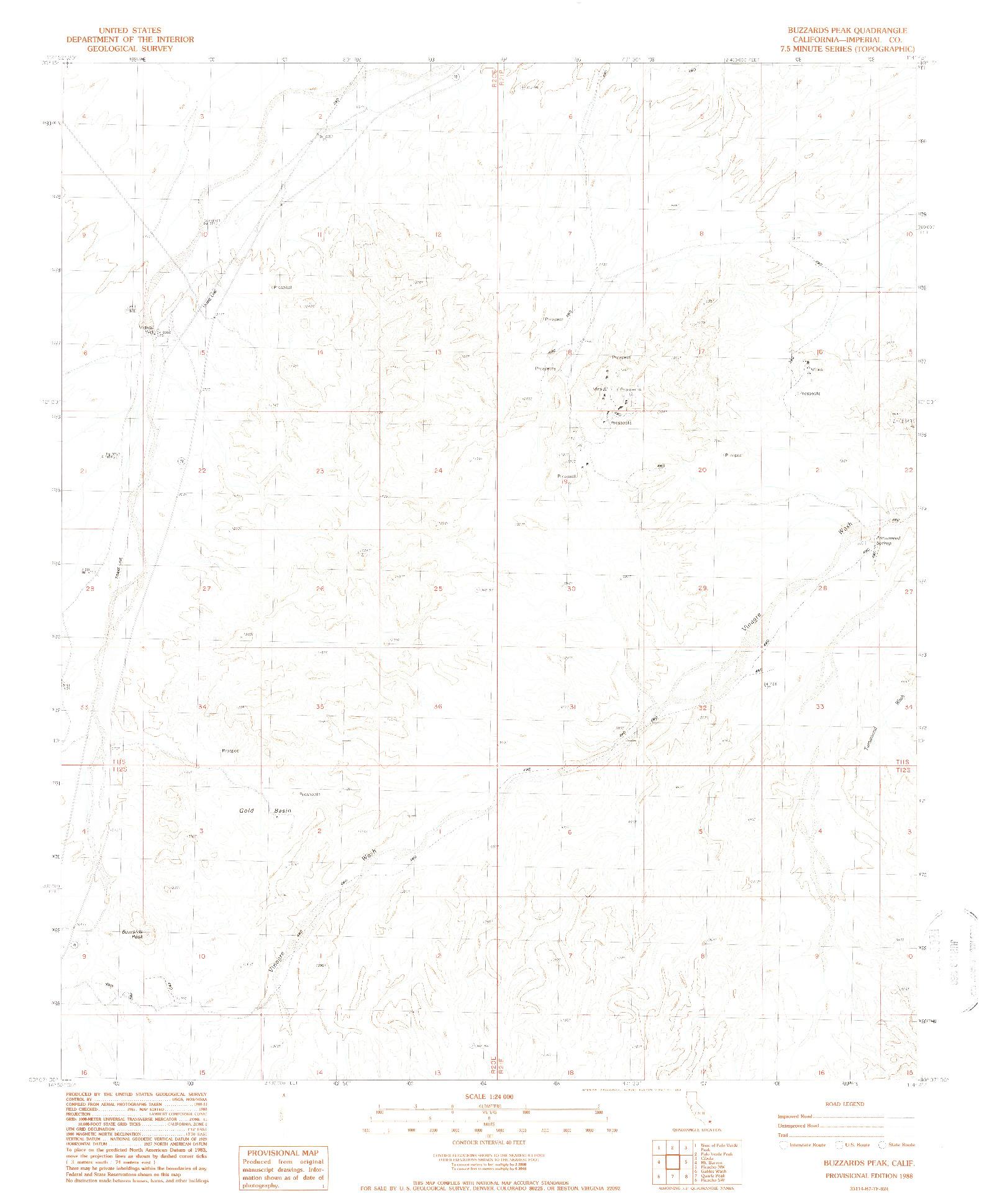 USGS 1:24000-SCALE QUADRANGLE FOR BUZZARDS PEAK, CA 1988