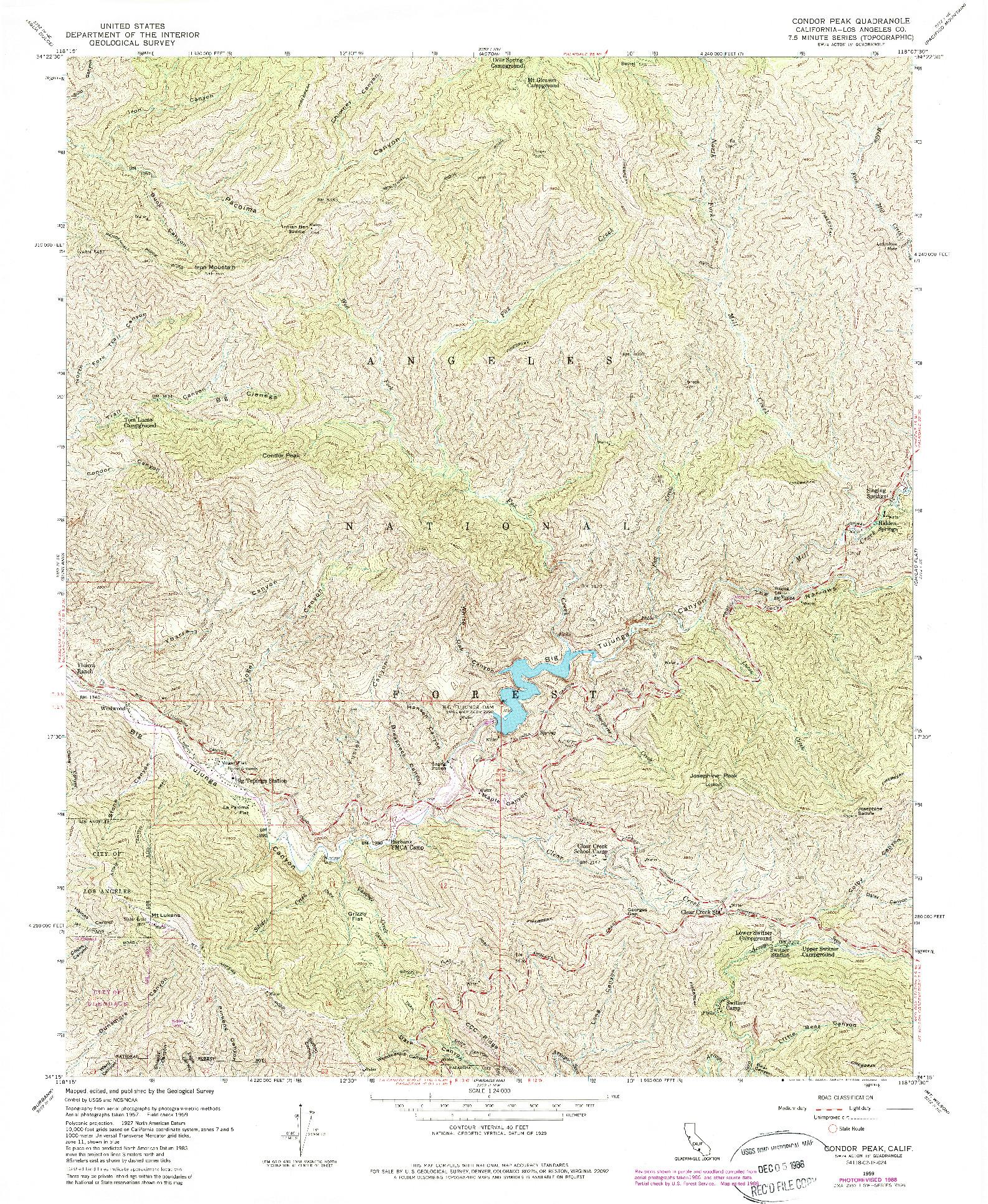 USGS 1:24000-SCALE QUADRANGLE FOR CONDOR PEAK, CA 1959