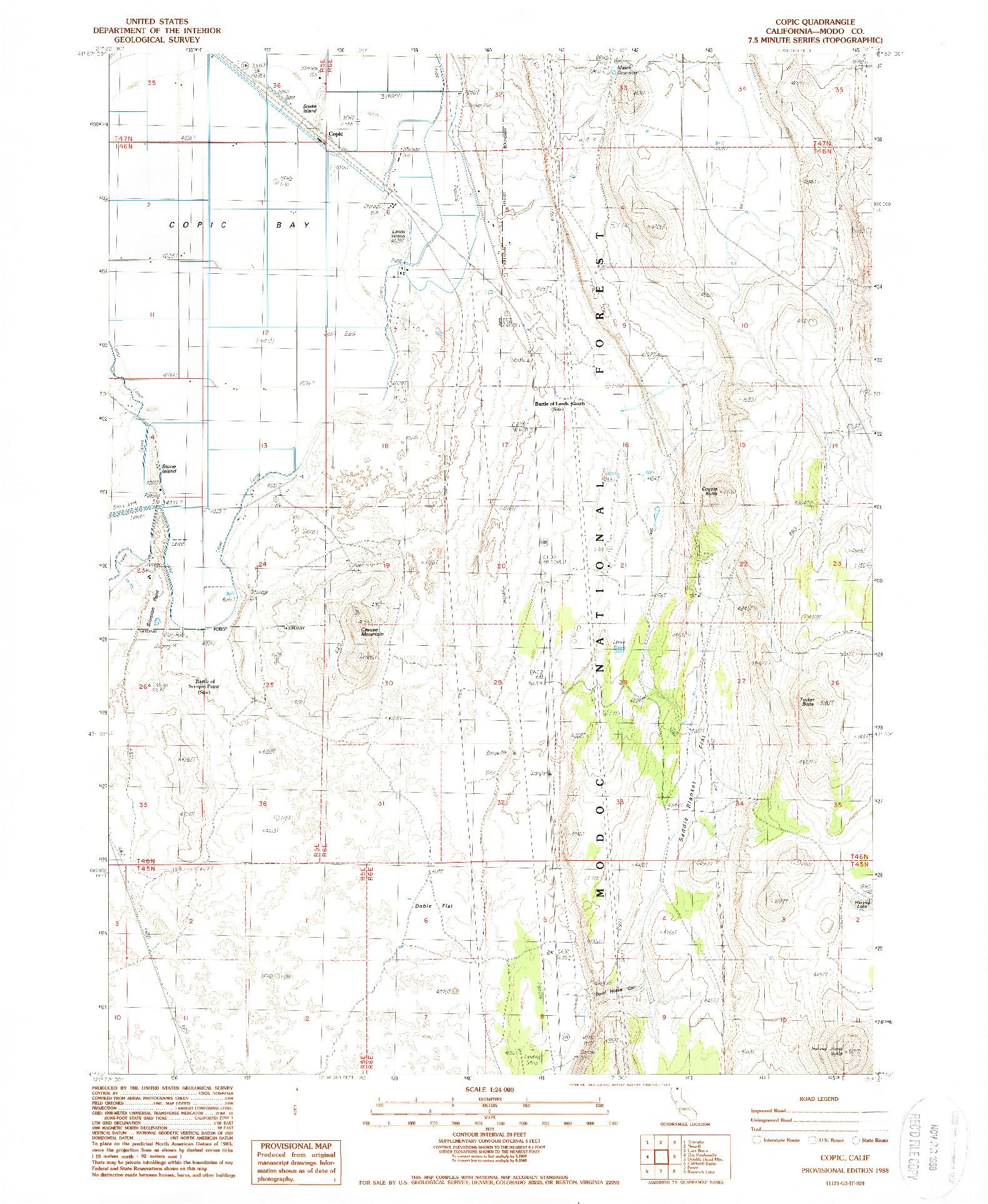 USGS 1:24000-SCALE QUADRANGLE FOR COPIC, CA 1988