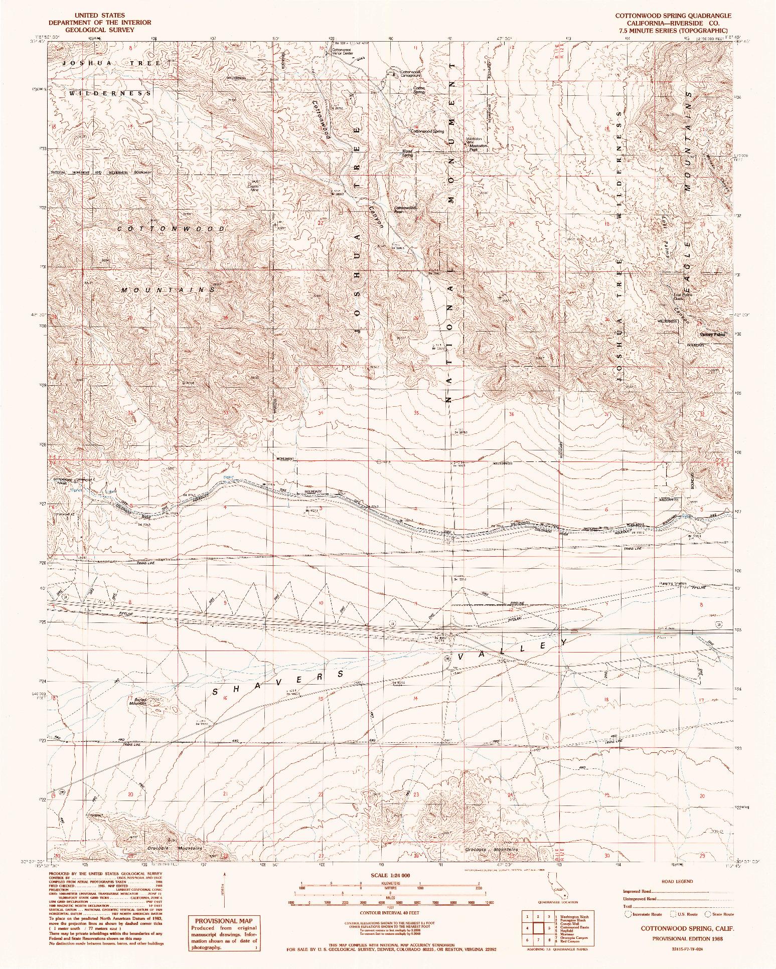 USGS 1:24000-SCALE QUADRANGLE FOR COTTONWOOD SPRING, CA 1988