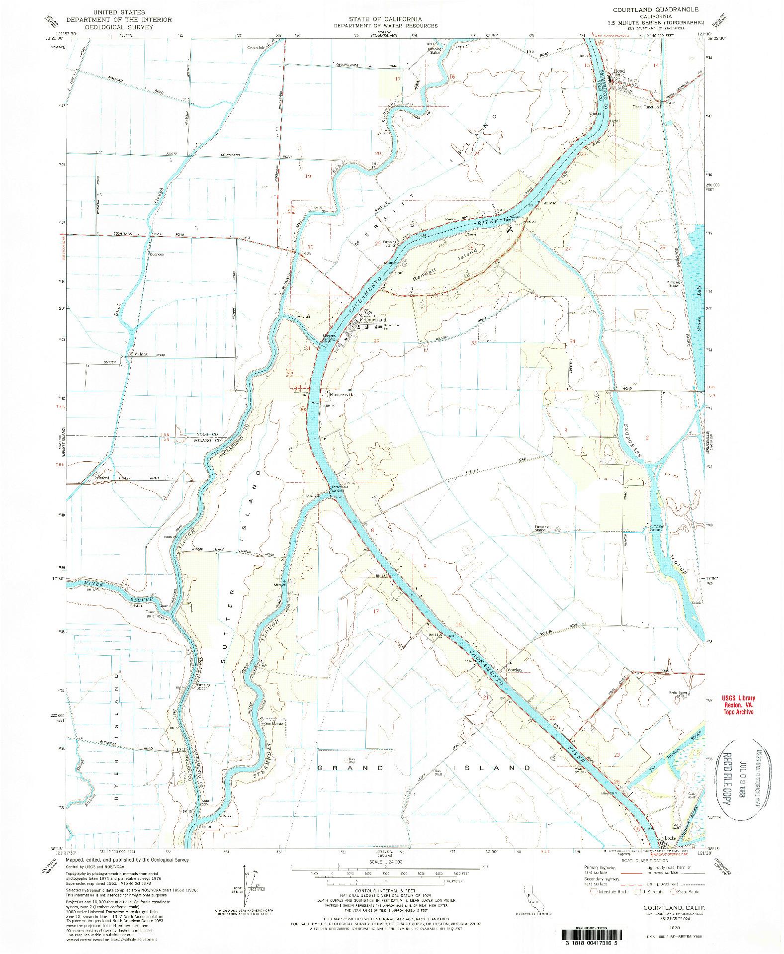 USGS 1:24000-SCALE QUADRANGLE FOR COURTLAND, CA 1978