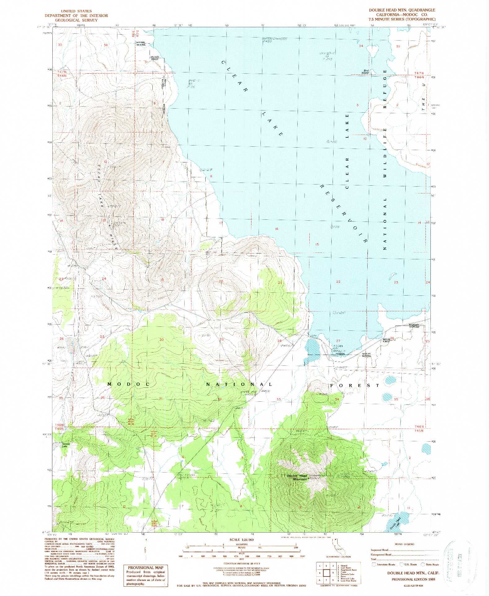 USGS 1:24000-SCALE QUADRANGLE FOR DOUBLE HEAD MTN, CA 1988