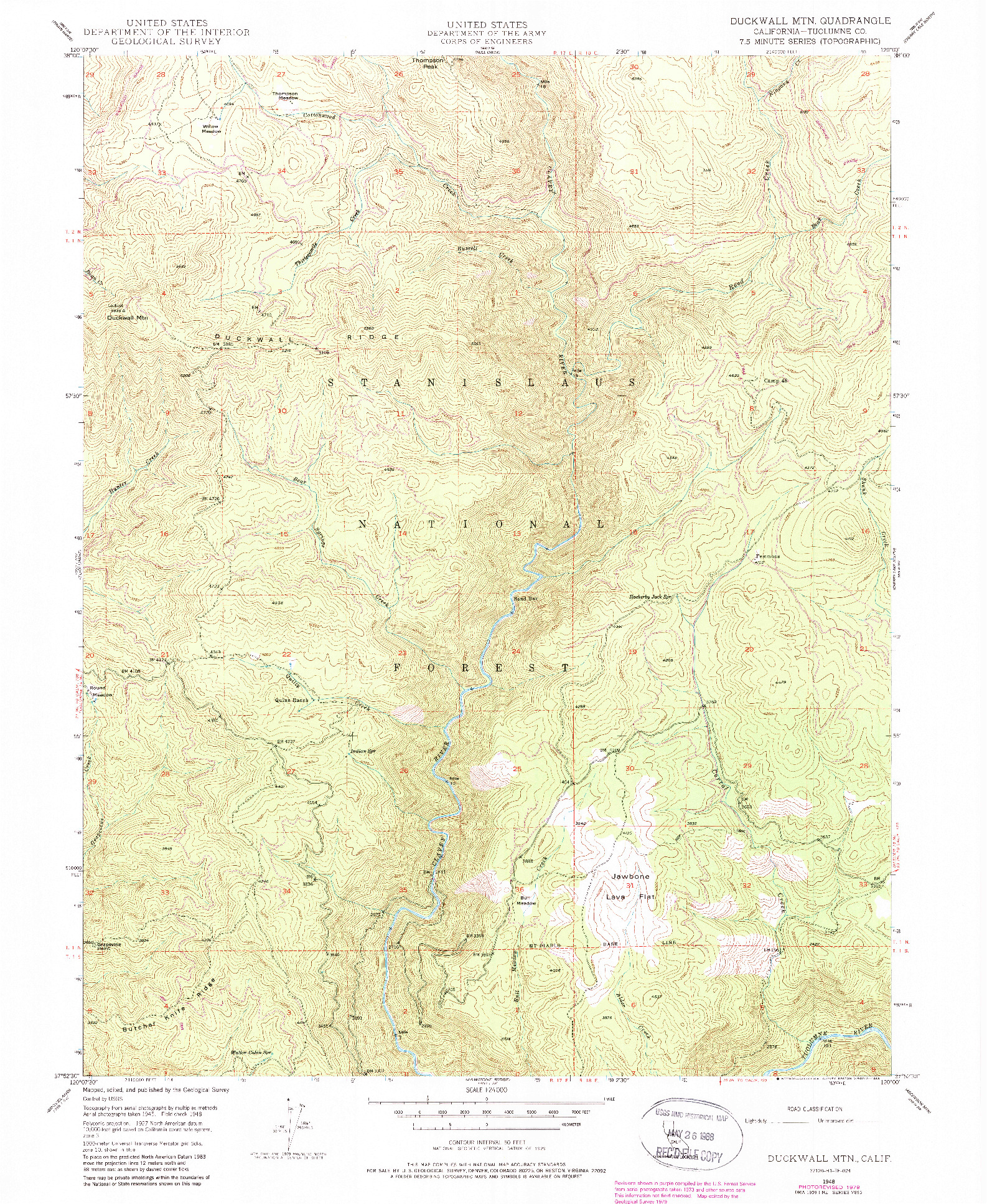 USGS 1:24000-SCALE QUADRANGLE FOR DUCKWALL MTN, CA 1948