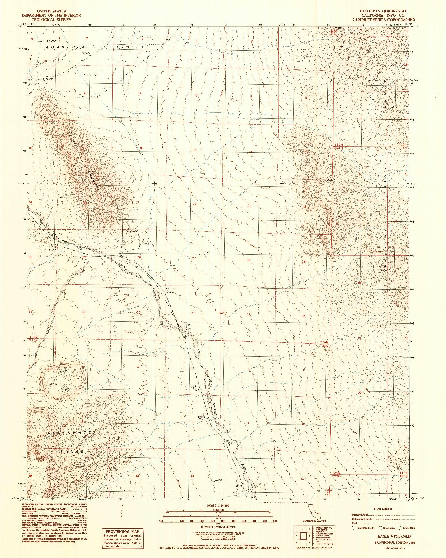 USGS 1:24000-SCALE QUADRANGLE FOR EAGLE MTN., CA 1988