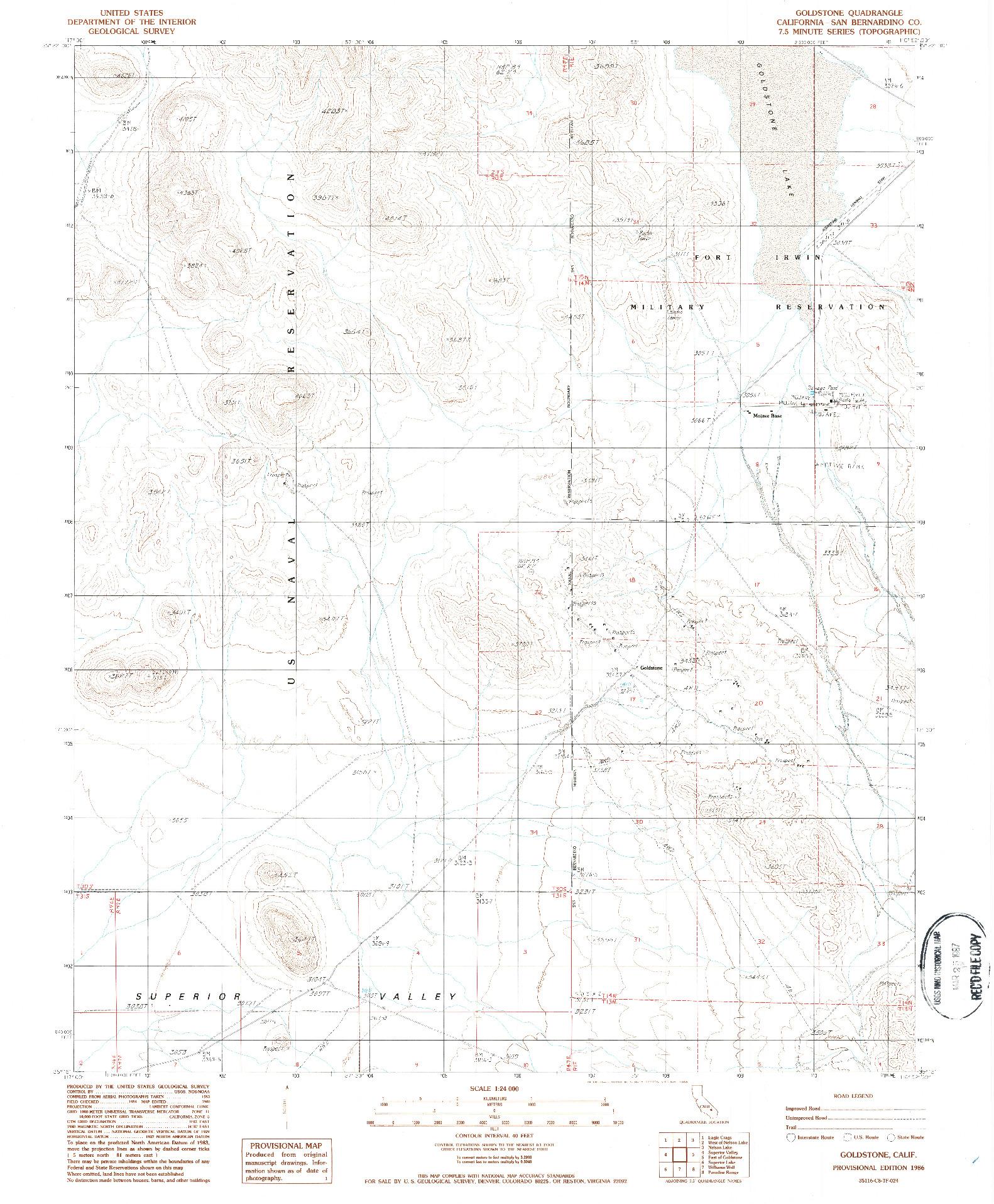 USGS 1:24000-SCALE QUADRANGLE FOR GOLDSTONE, CA 1986