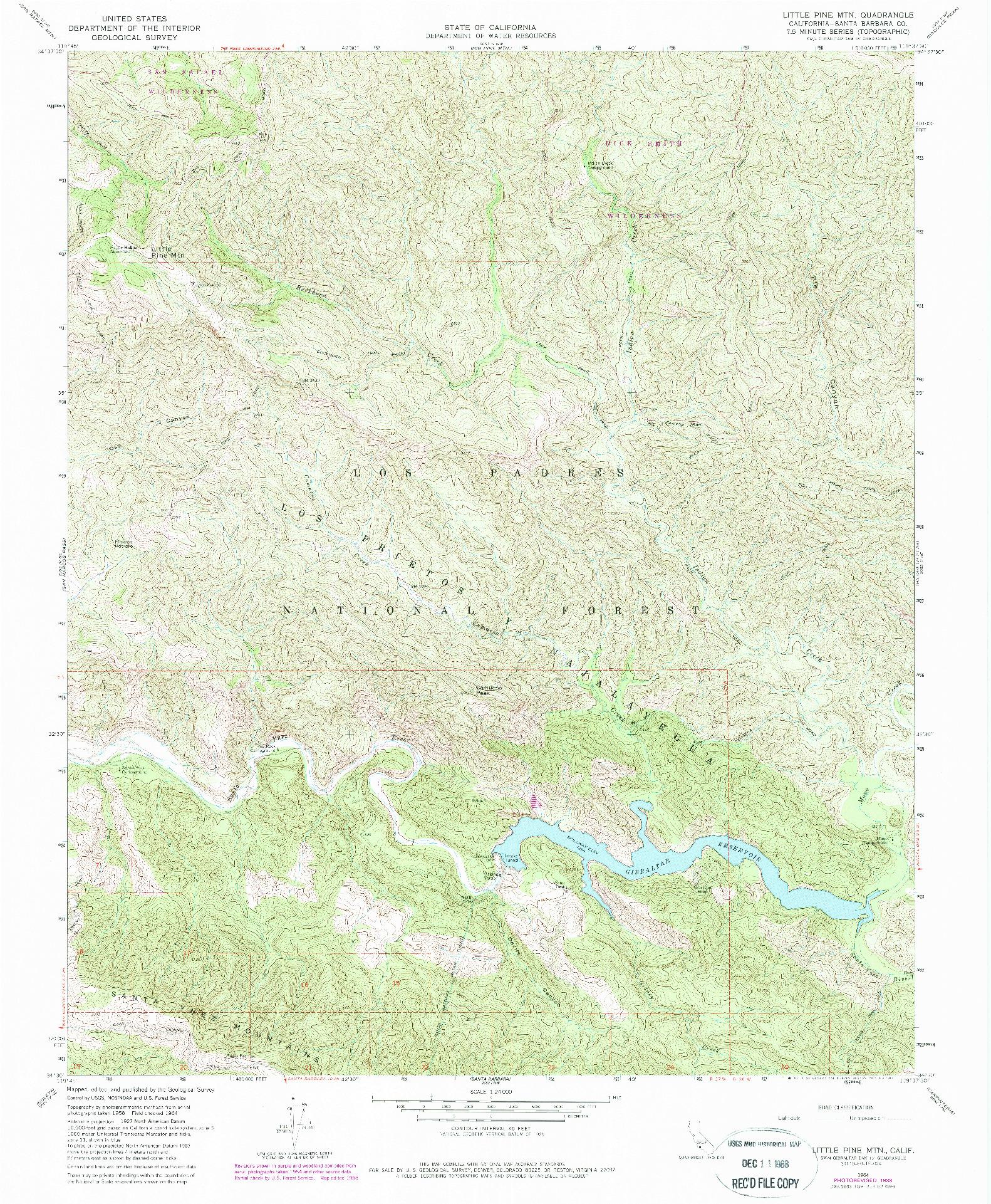 USGS 1:24000-SCALE QUADRANGLE FOR LITTLE PINE MOUNTAIN, CA 1964