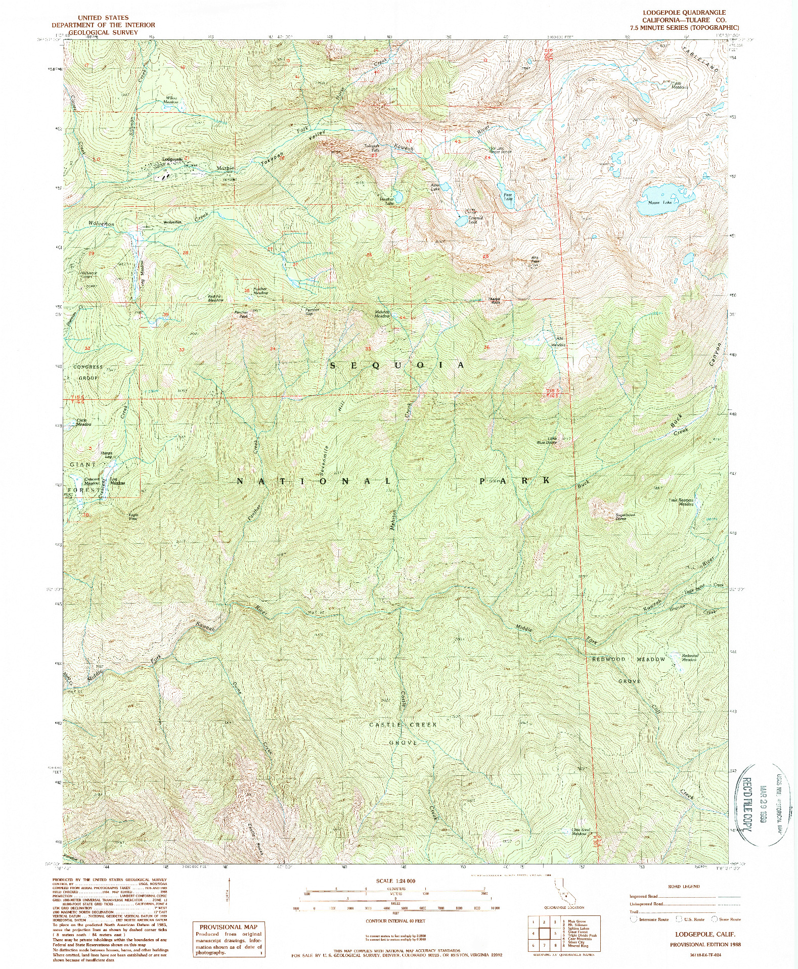 USGS 1:24000-SCALE QUADRANGLE FOR LODGEPOLE, CA 1988