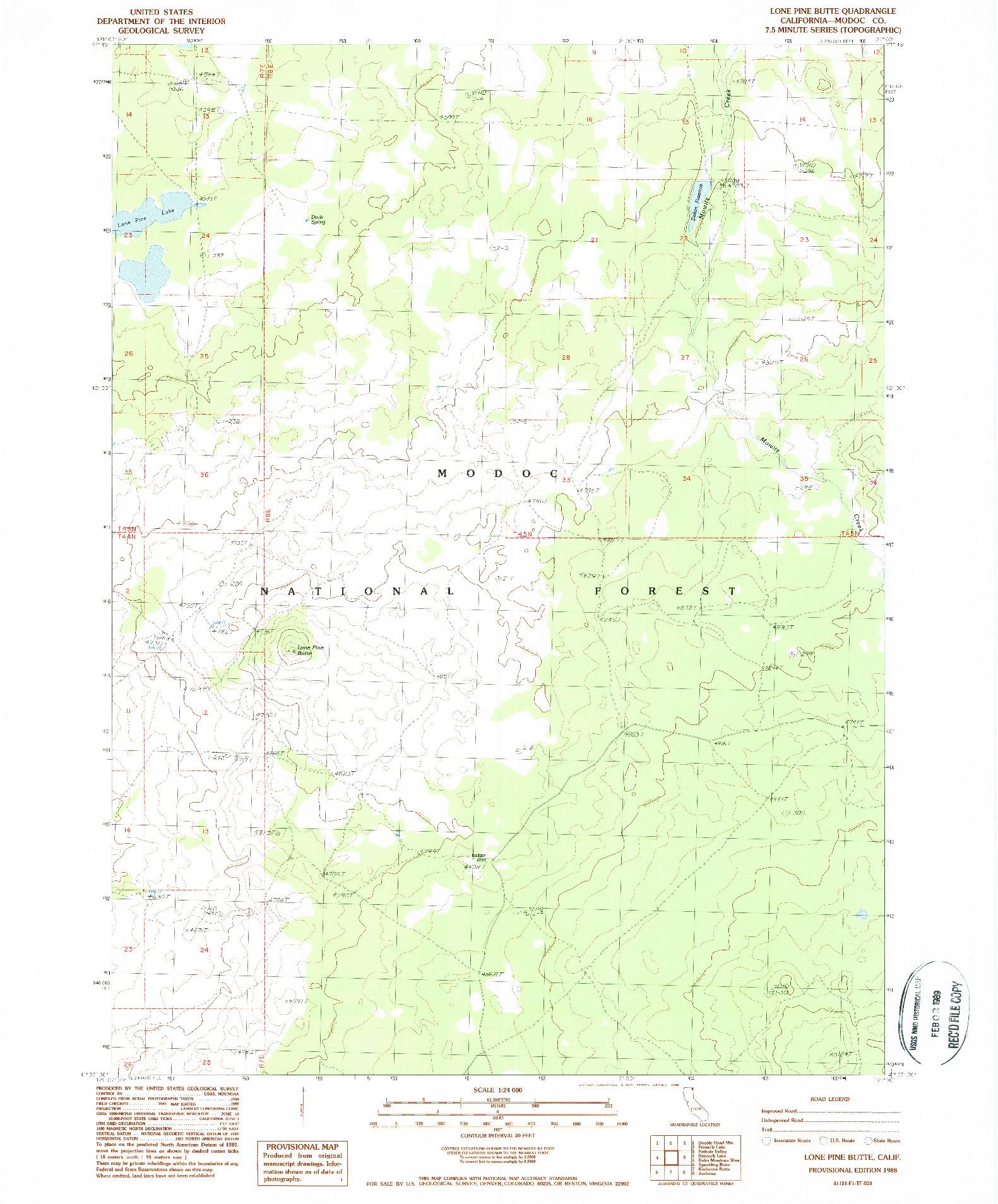 USGS 1:24000-SCALE QUADRANGLE FOR LONE PINE BUTTE, CA 1988