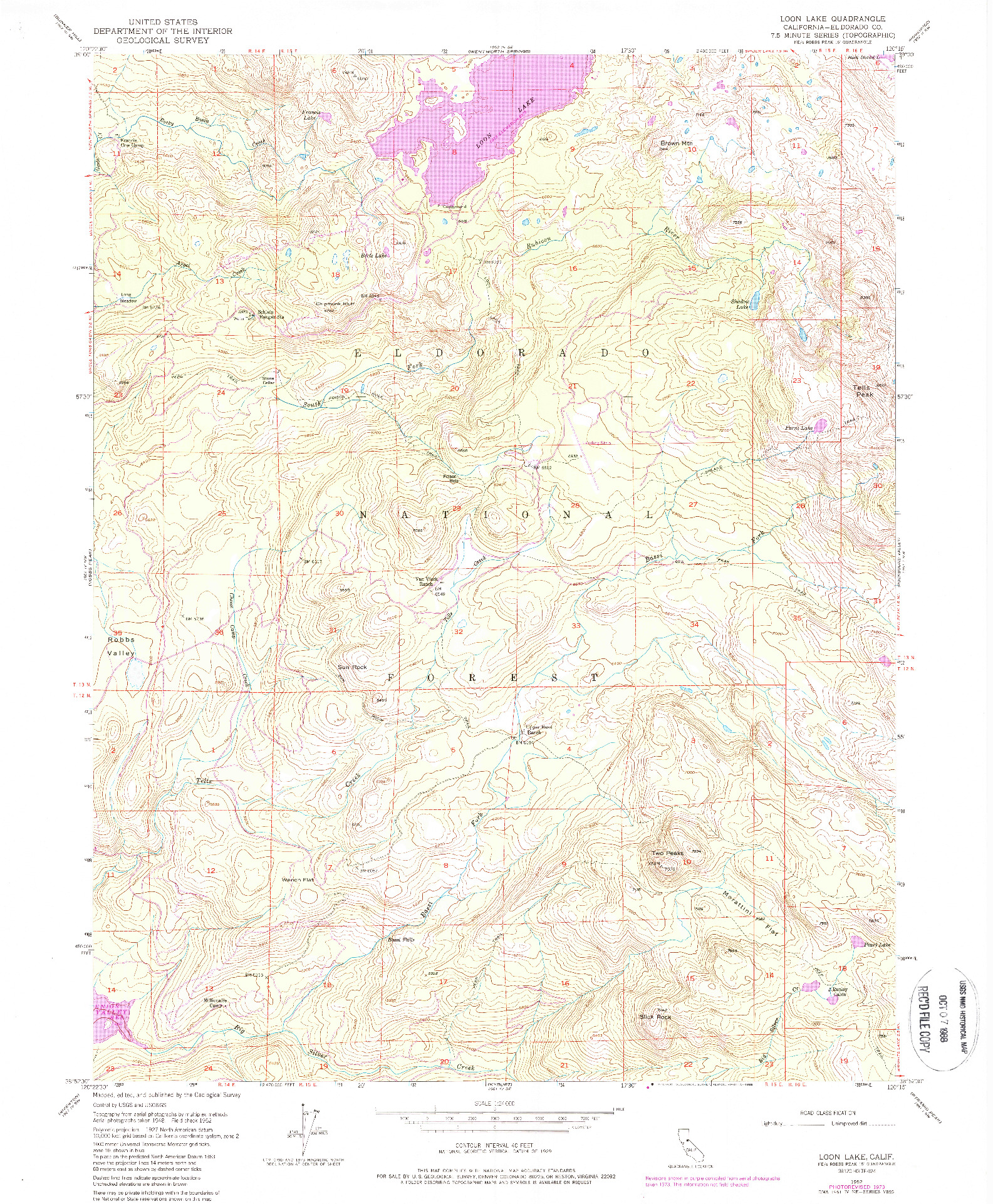 USGS 1:24000-SCALE QUADRANGLE FOR LOON LAKE, CA 1952
