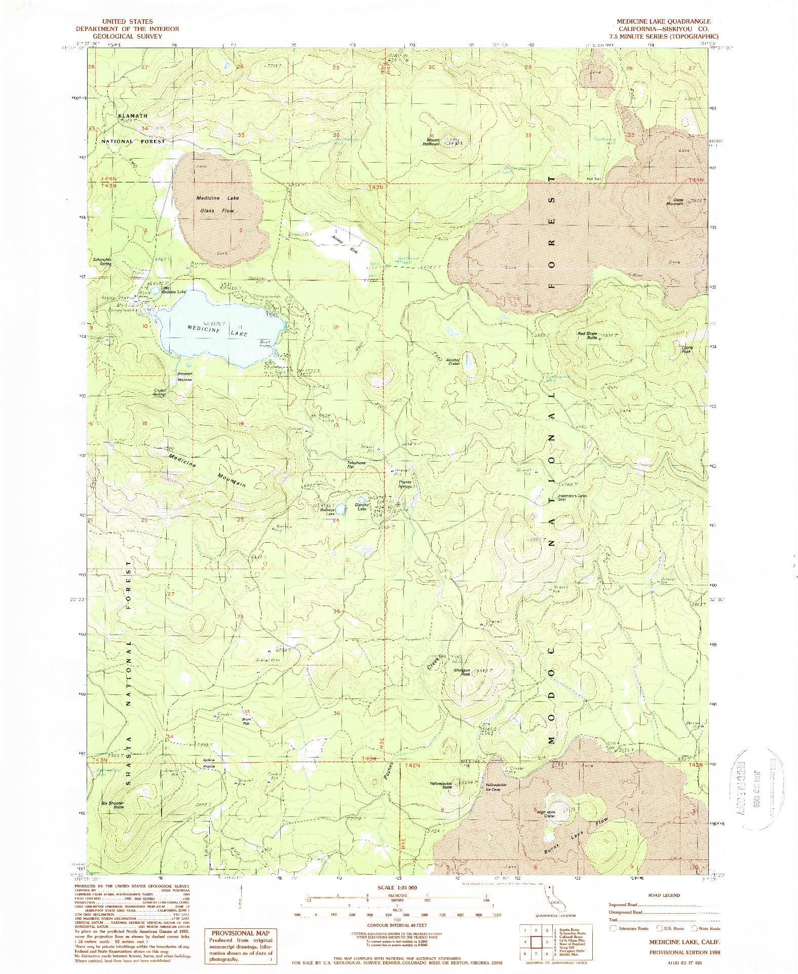 USGS 1:24000-SCALE QUADRANGLE FOR MEDICINE LAKE, CA 1988