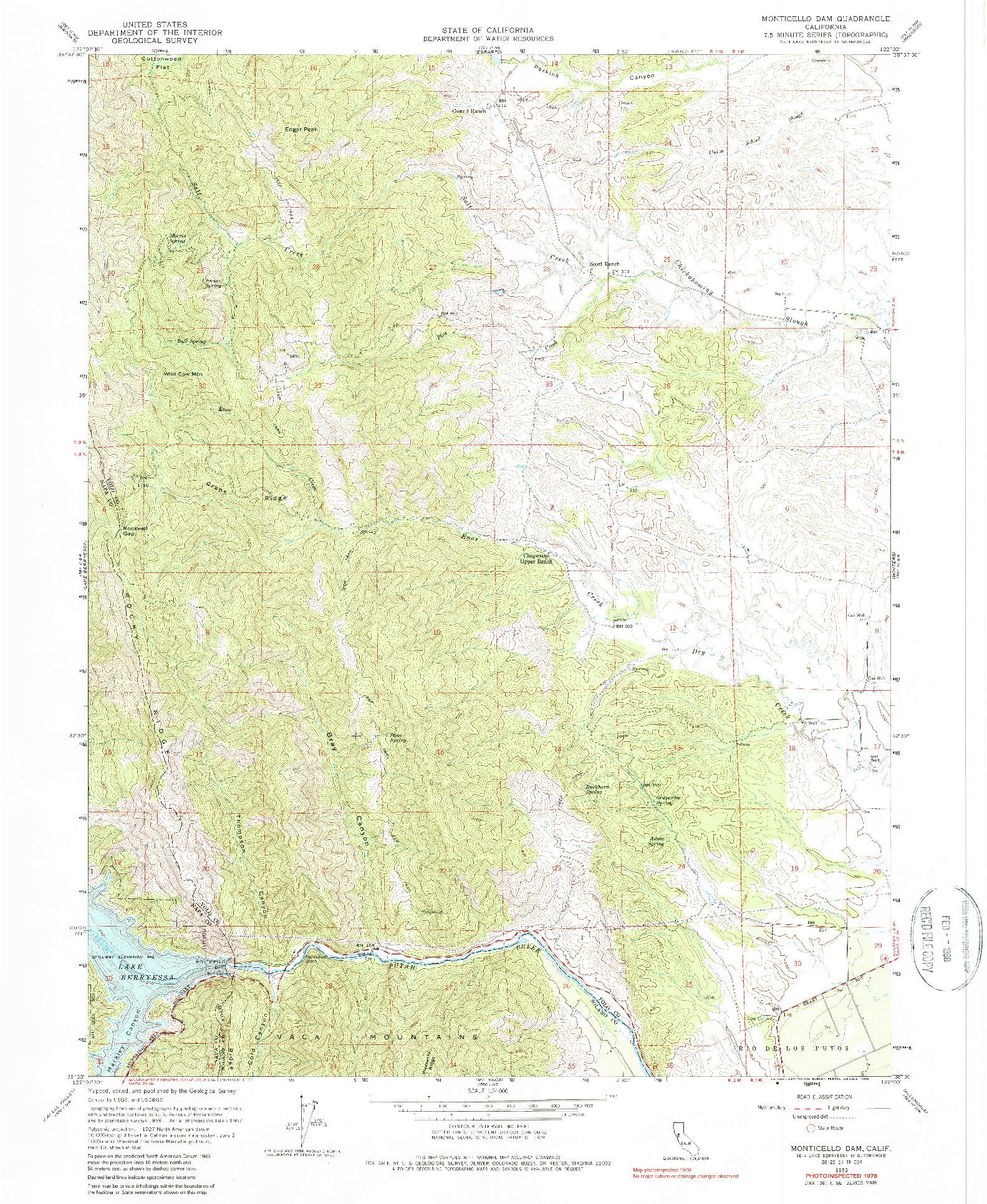 USGS 1:24000-SCALE QUADRANGLE FOR MONTICELLO DAM, CA 1959