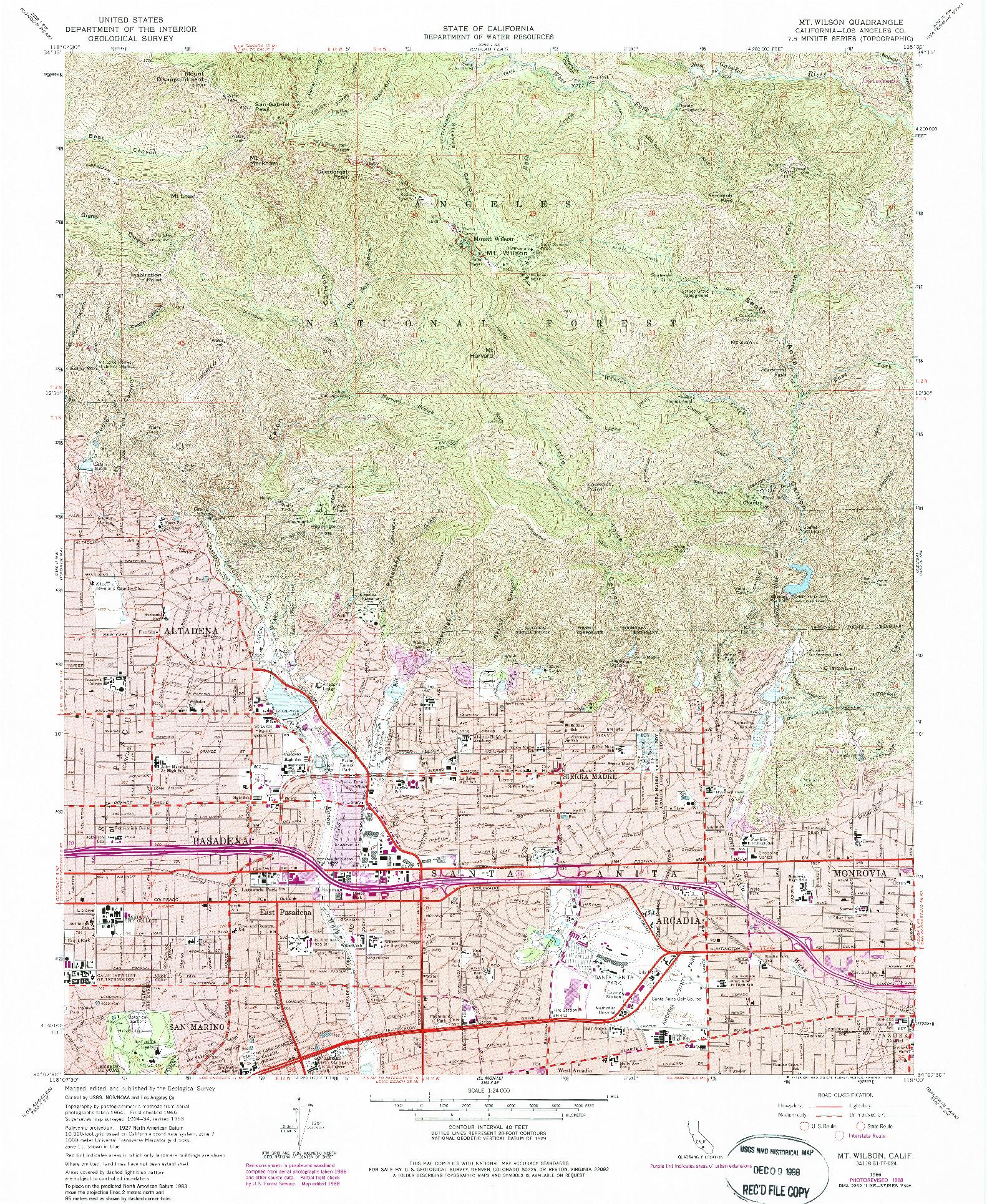 USGS 1:24000-SCALE QUADRANGLE FOR MT. WILSON, CA 1966