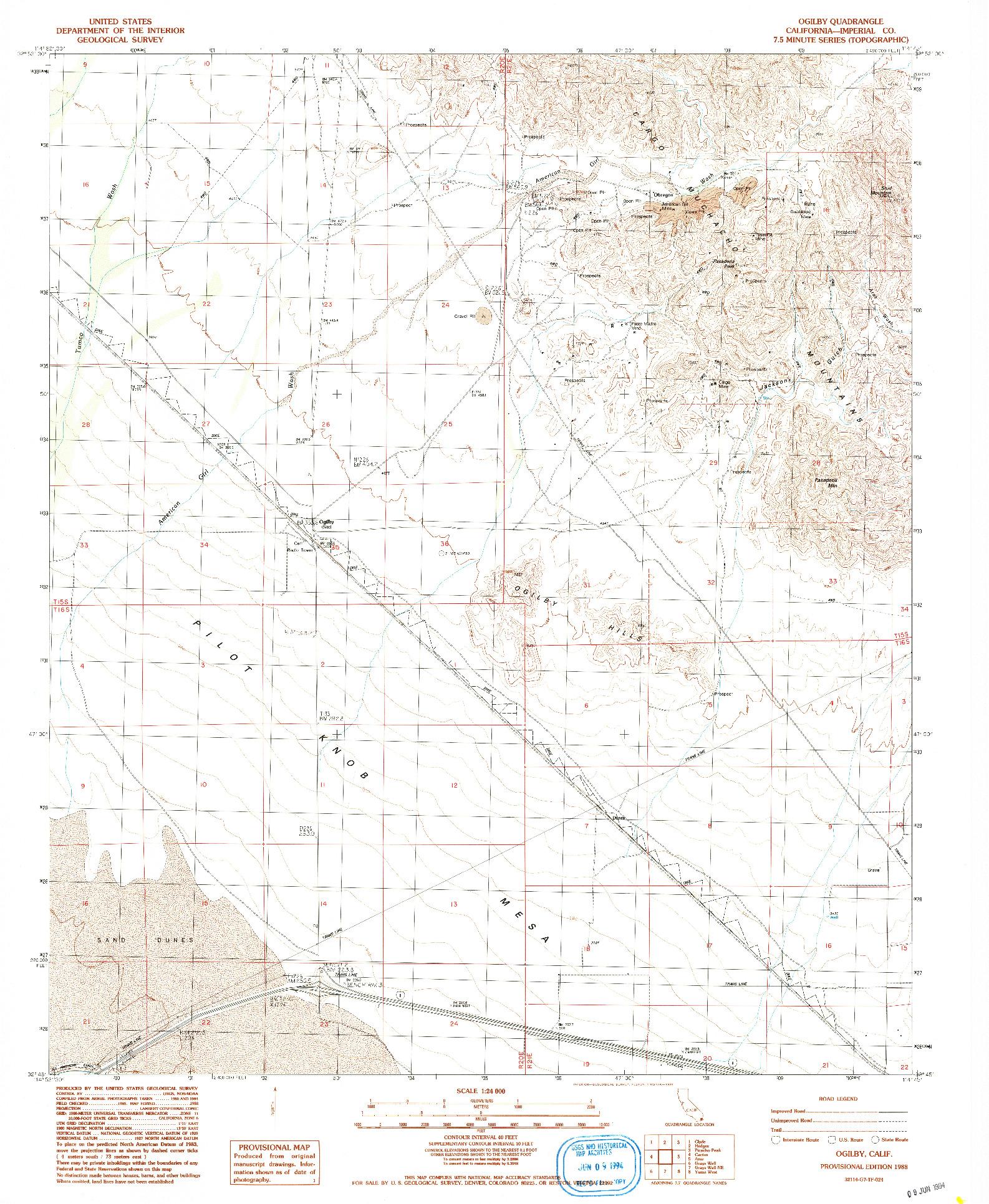 USGS 1:24000-SCALE QUADRANGLE FOR OGILBY, CA 1988