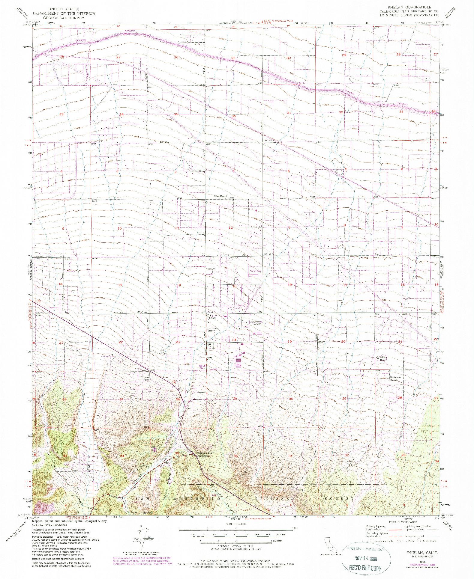 USGS 1:24000-SCALE QUADRANGLE FOR PHELAN, CA 1956