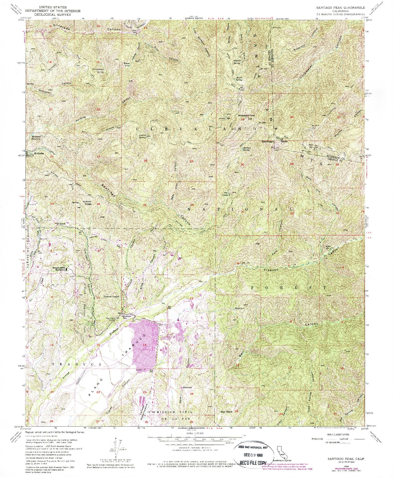 USGS 1:24000-SCALE QUADRANGLE FOR SANTIAGO PEAK, CA 1954