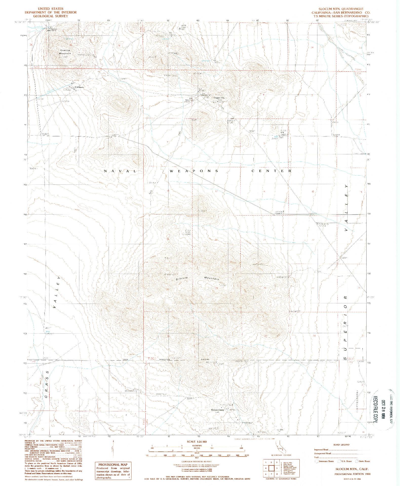 USGS 1:24000-SCALE QUADRANGLE FOR SLOCUM MTN, CA 1988