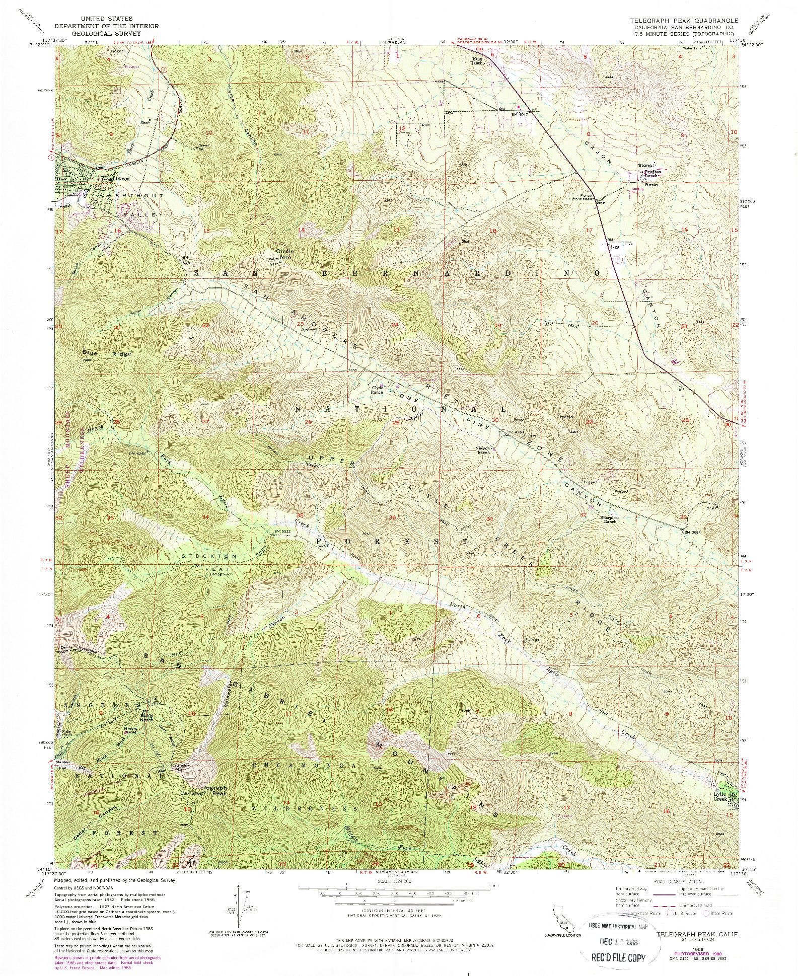 USGS 1:24000-SCALE QUADRANGLE FOR TELEGRAPH PEAK, CA 1956