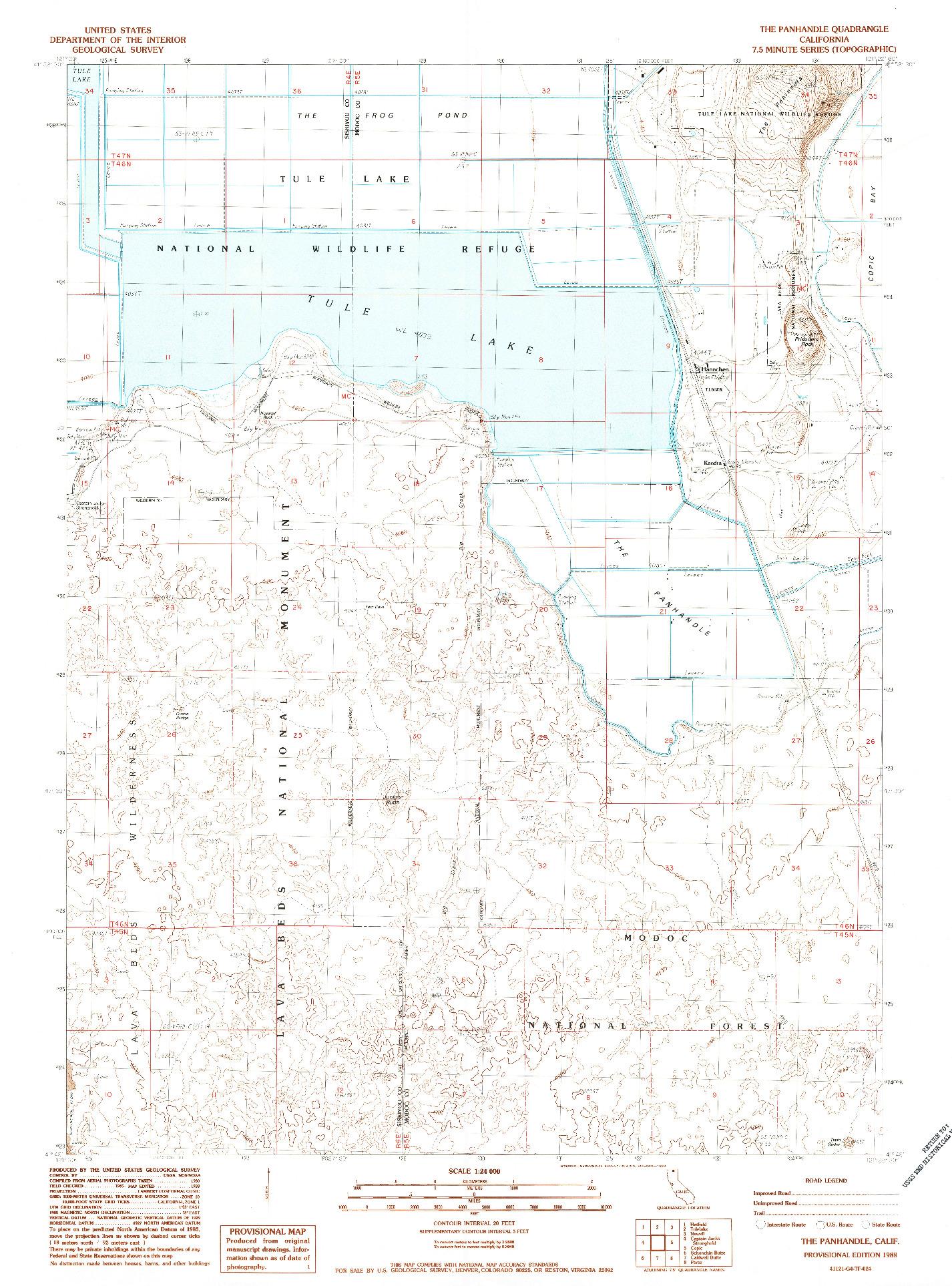USGS 1:24000-SCALE QUADRANGLE FOR THE PANHANDLE, CA 1988